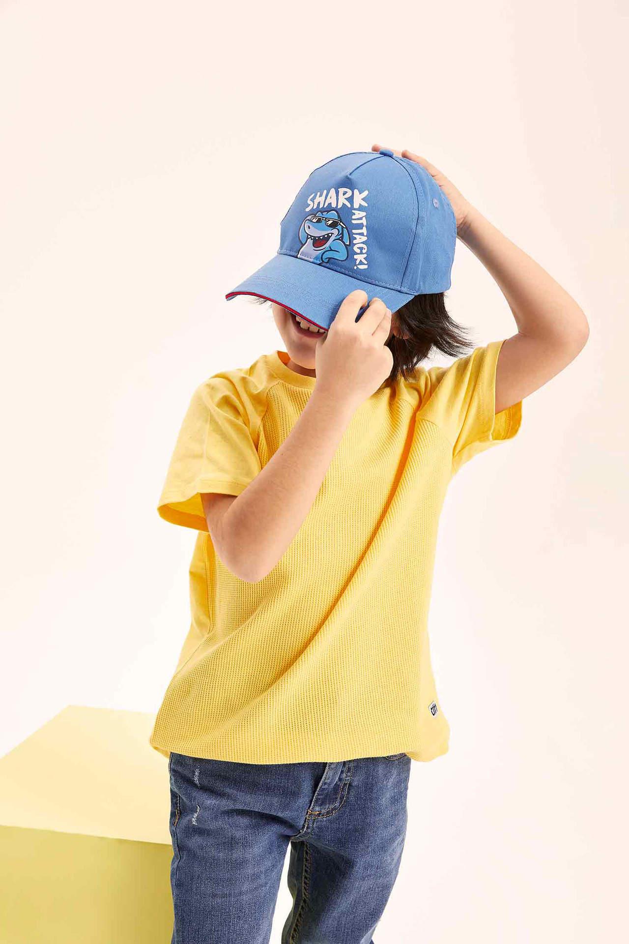 DeFacto Erkek Çocuk Baskılı Şapka Mavi male