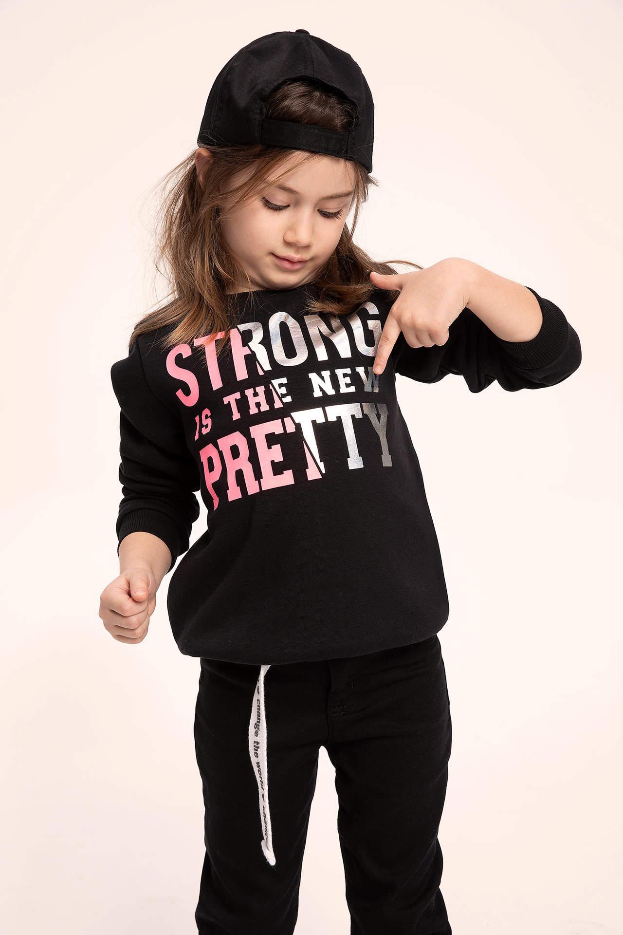 DeFacto Kız Çocuk Hologram Slogan Baskılı Sweatshirt Siyah female