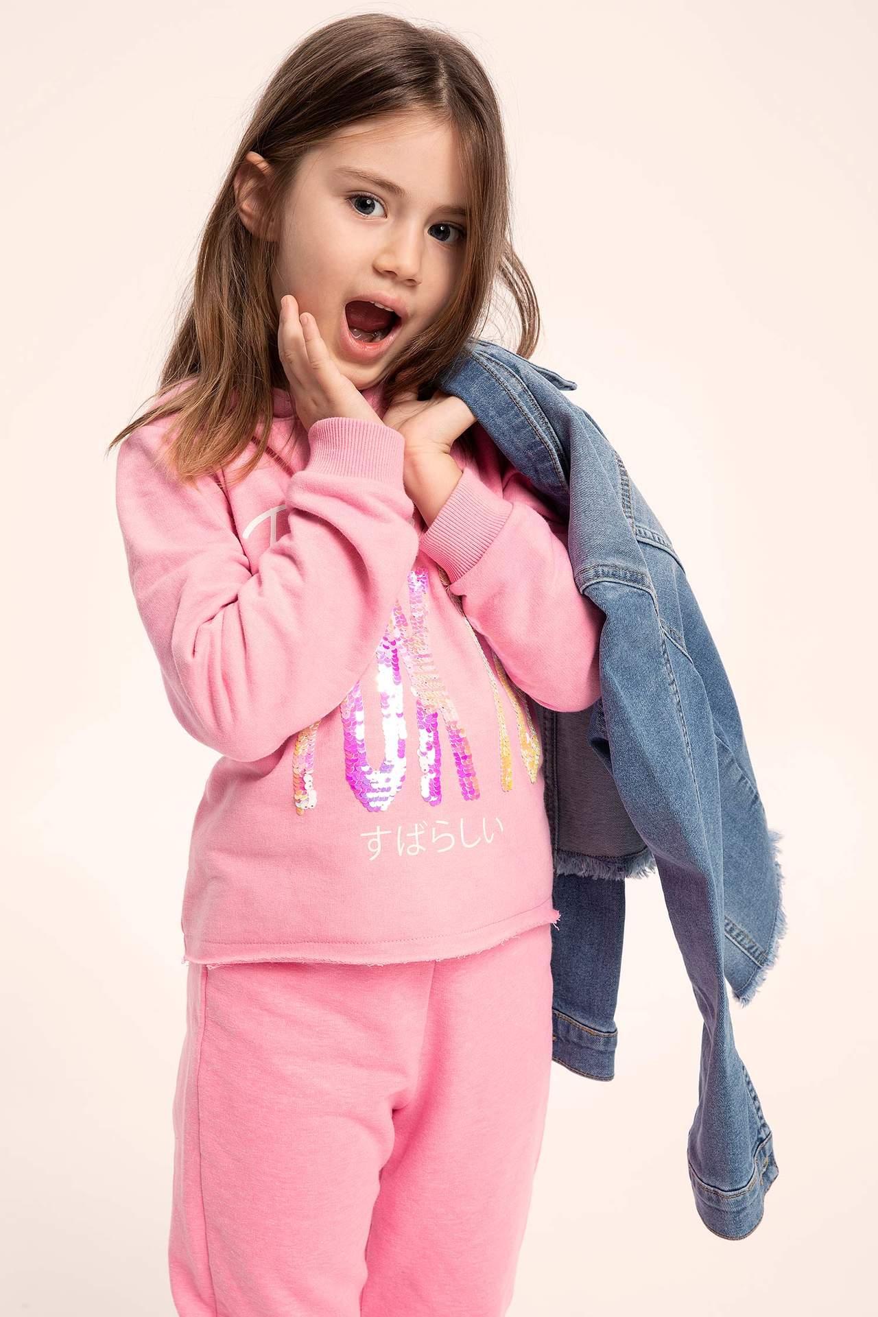 DeFacto Kız Çocuk Kapüşonlu Yazı Baskılı Sweatshirt Pembe female