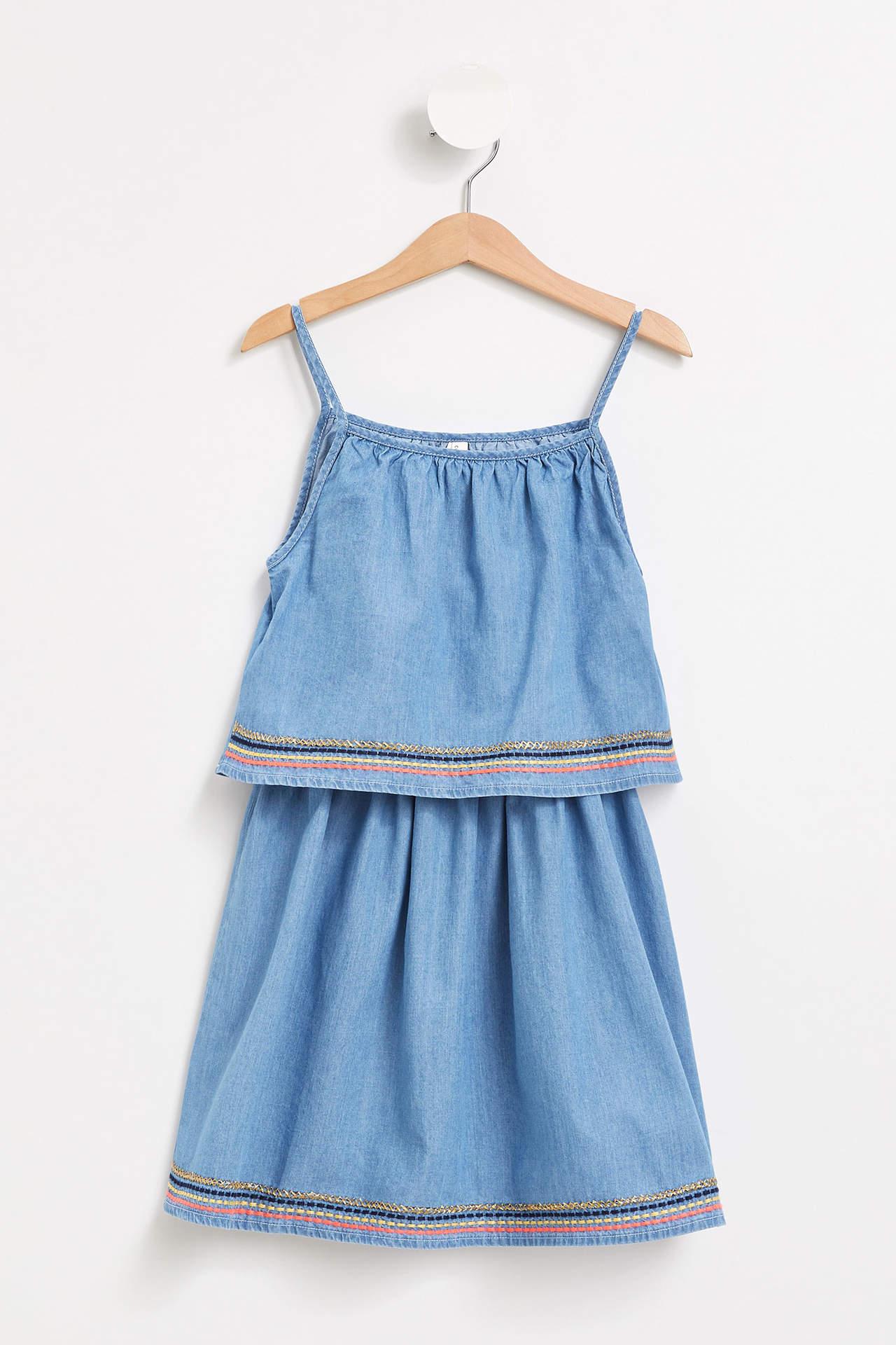 DeFacto Kız Çocuk Etek Uçları İşlemeli Jean Elbise Mavi female