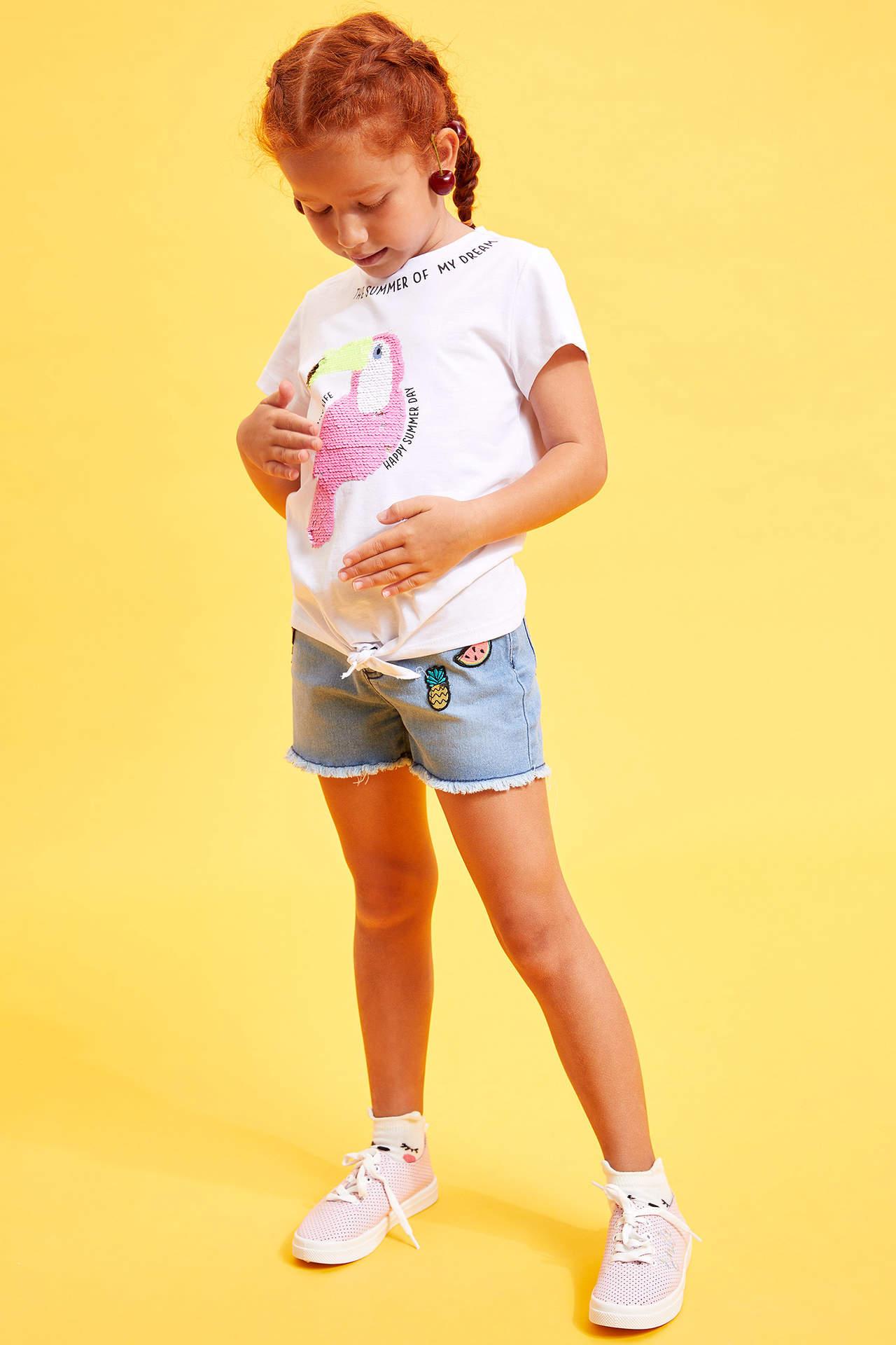 DeFacto Kız Çocuk Baskılı Jean Şort Mavi female