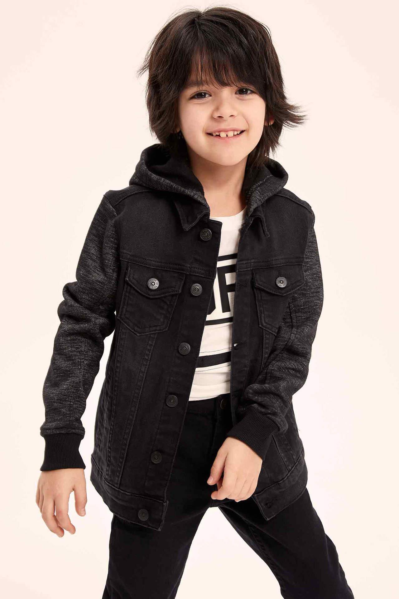 DeFacto Erkek Çocuk Örme Kollu Jean Ceket Siyah male