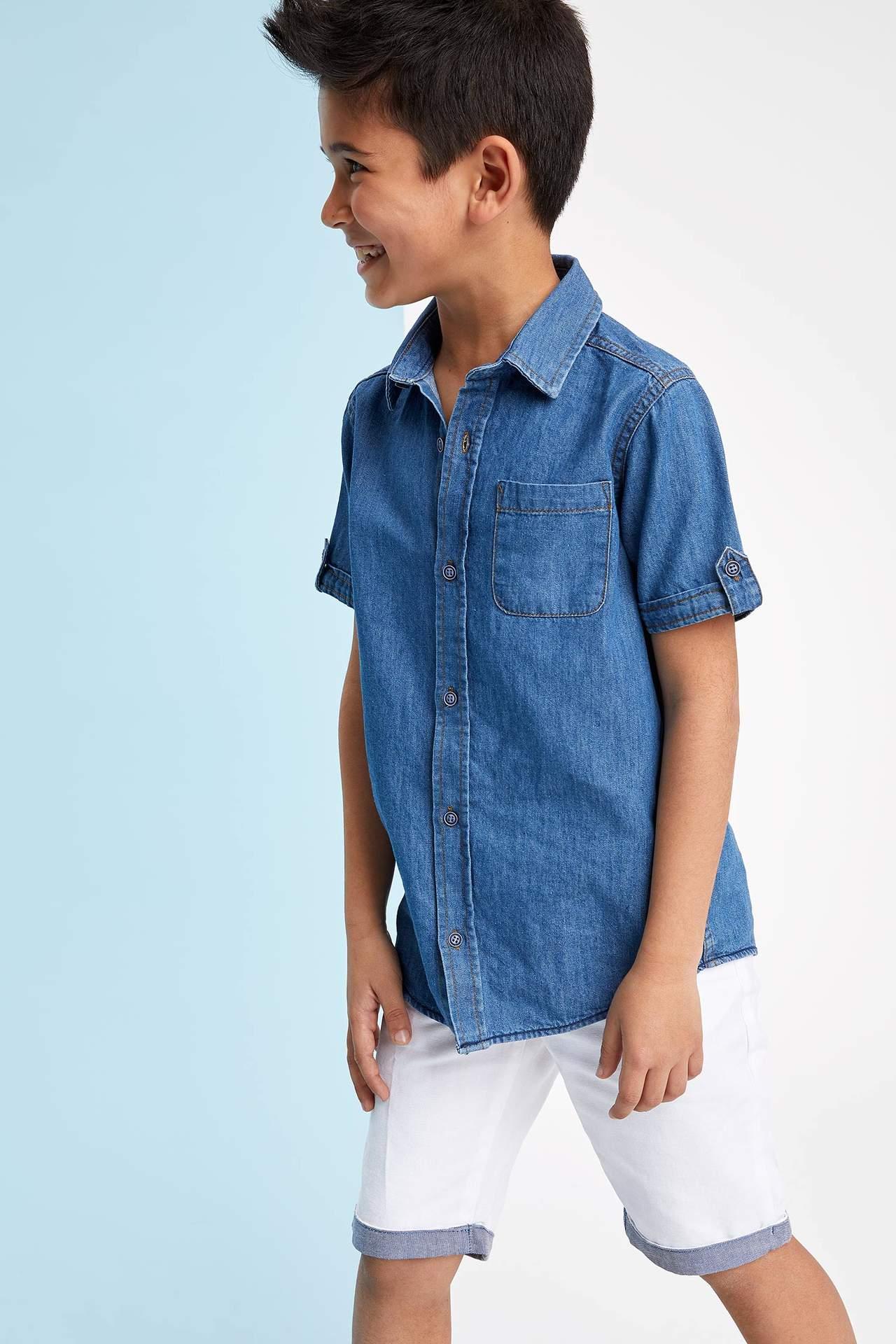 DeFacto Erkek Çocuk Kısa Kollu Jean Gömlek Mavi male