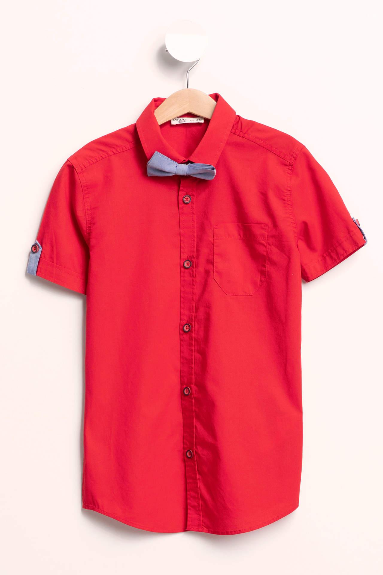 DeFacto Erkek Çocuk Papyon Detaylı Gömlek Kırmızı male