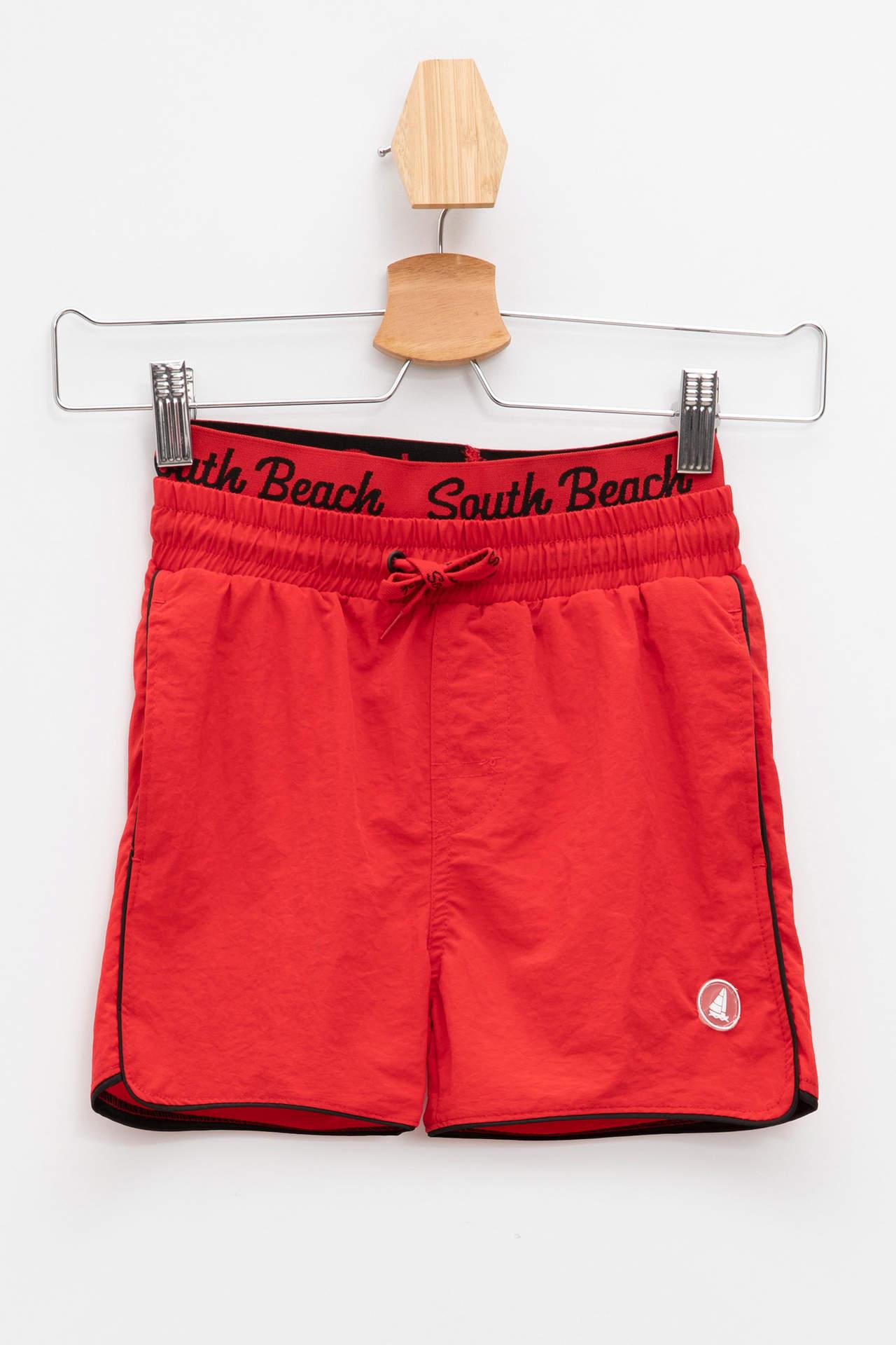 DeFacto Erkek Çocuk Beli Boxer Lastikli Yüzme Şortu Kırmızı male
