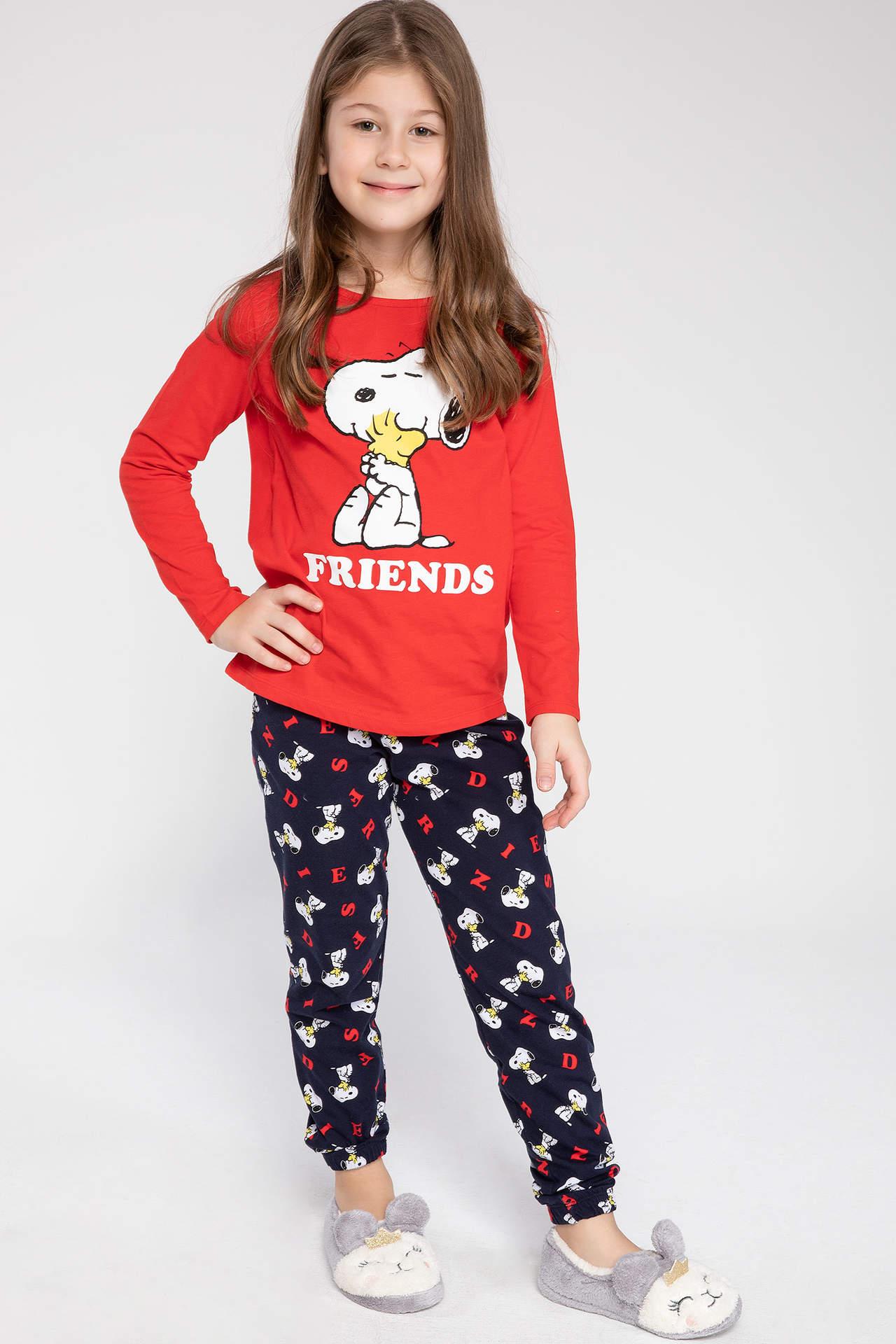 DeFacto Kız Çocuk Snoopy Lisanslı Pijama Takımı Kırmızı female