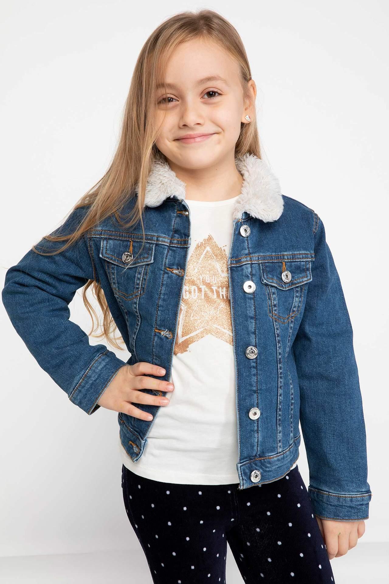 DeFacto Kız Çocuk Yünlü Jean Ceket Mavi female