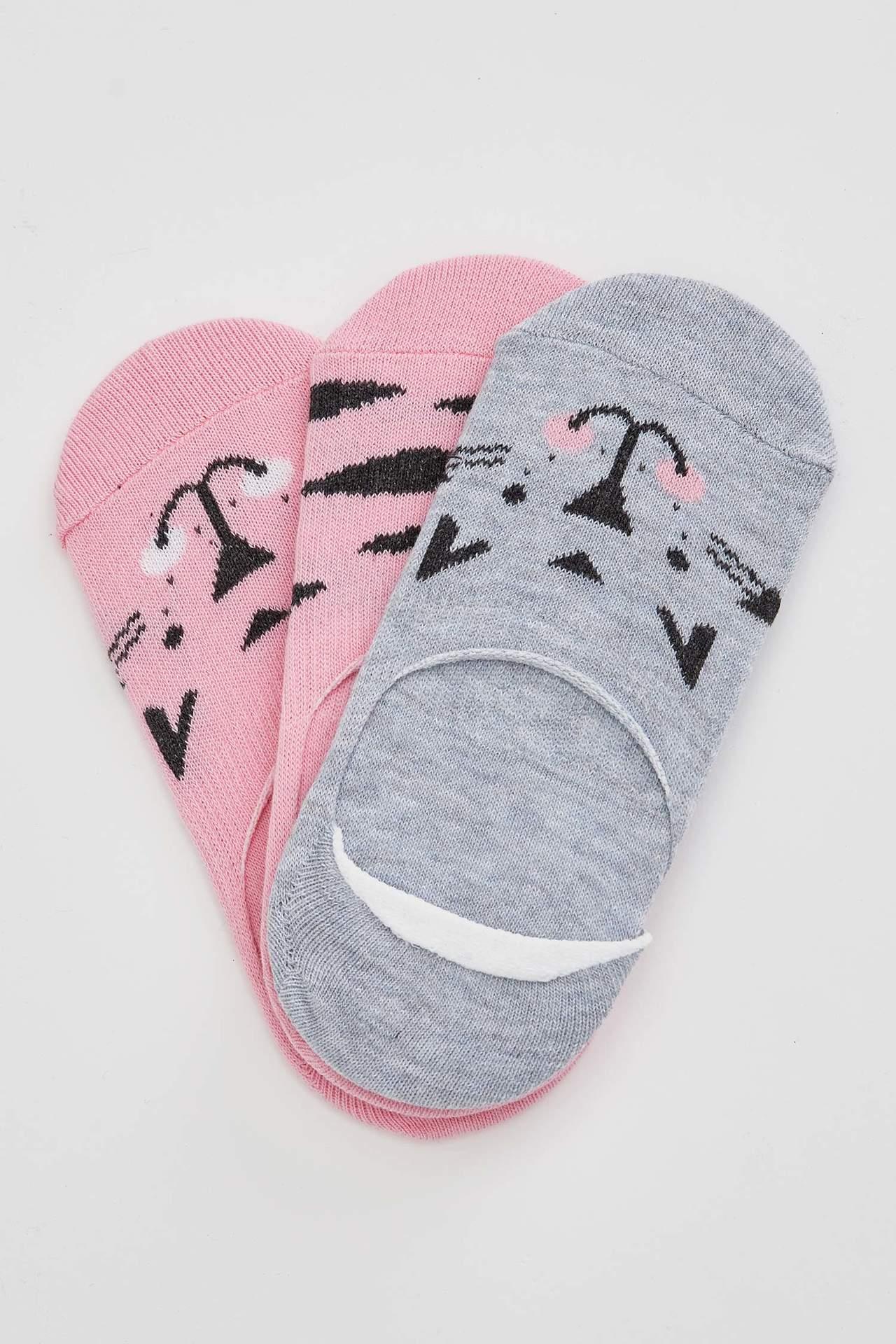 DeFacto Kız Çocuk 3'lü Kısa Çorap female