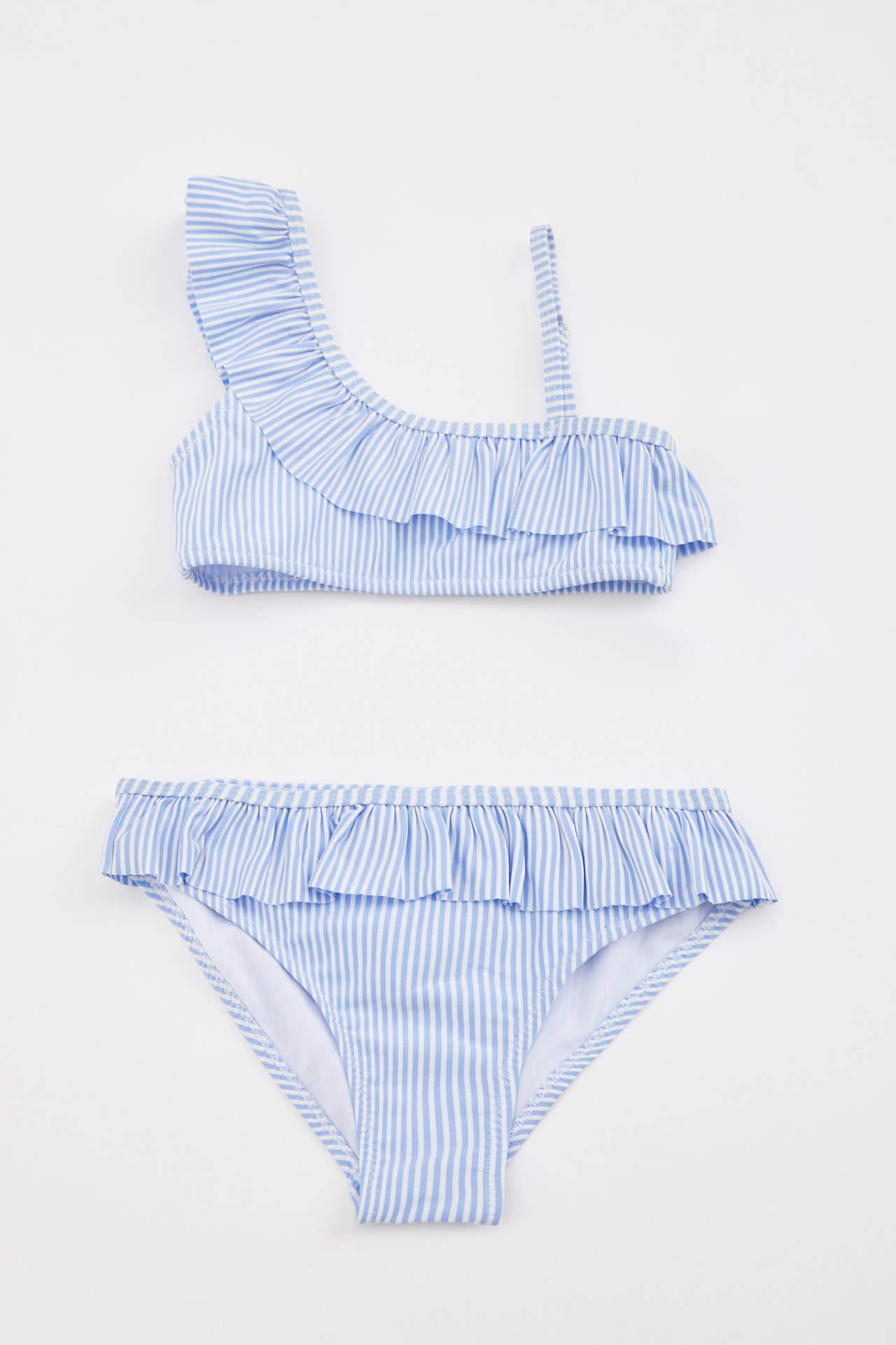 DeFacto Kız Çocuk Tek Omuz Fırfır Detaylı Bikini Takımı Mavi female