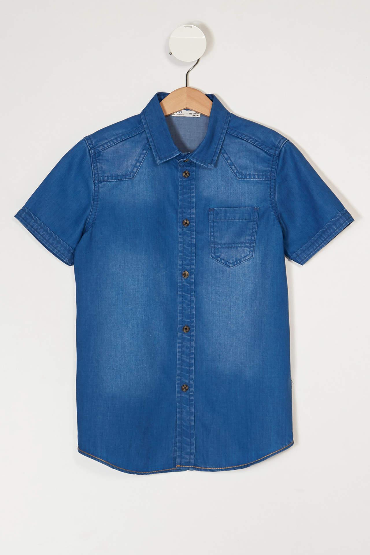 DeFacto Erkek Çocuk Cepli Kısa Kollu Jean Gömlek Mavi male