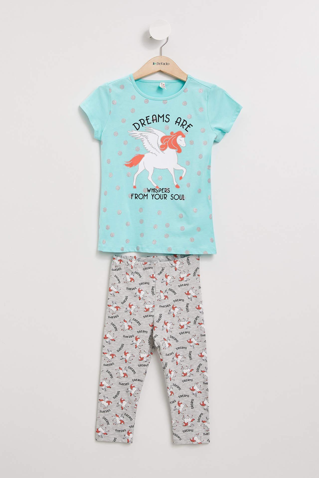 DeFacto Kız Çocuk Unicorn Baskılı Pijama Takımı female