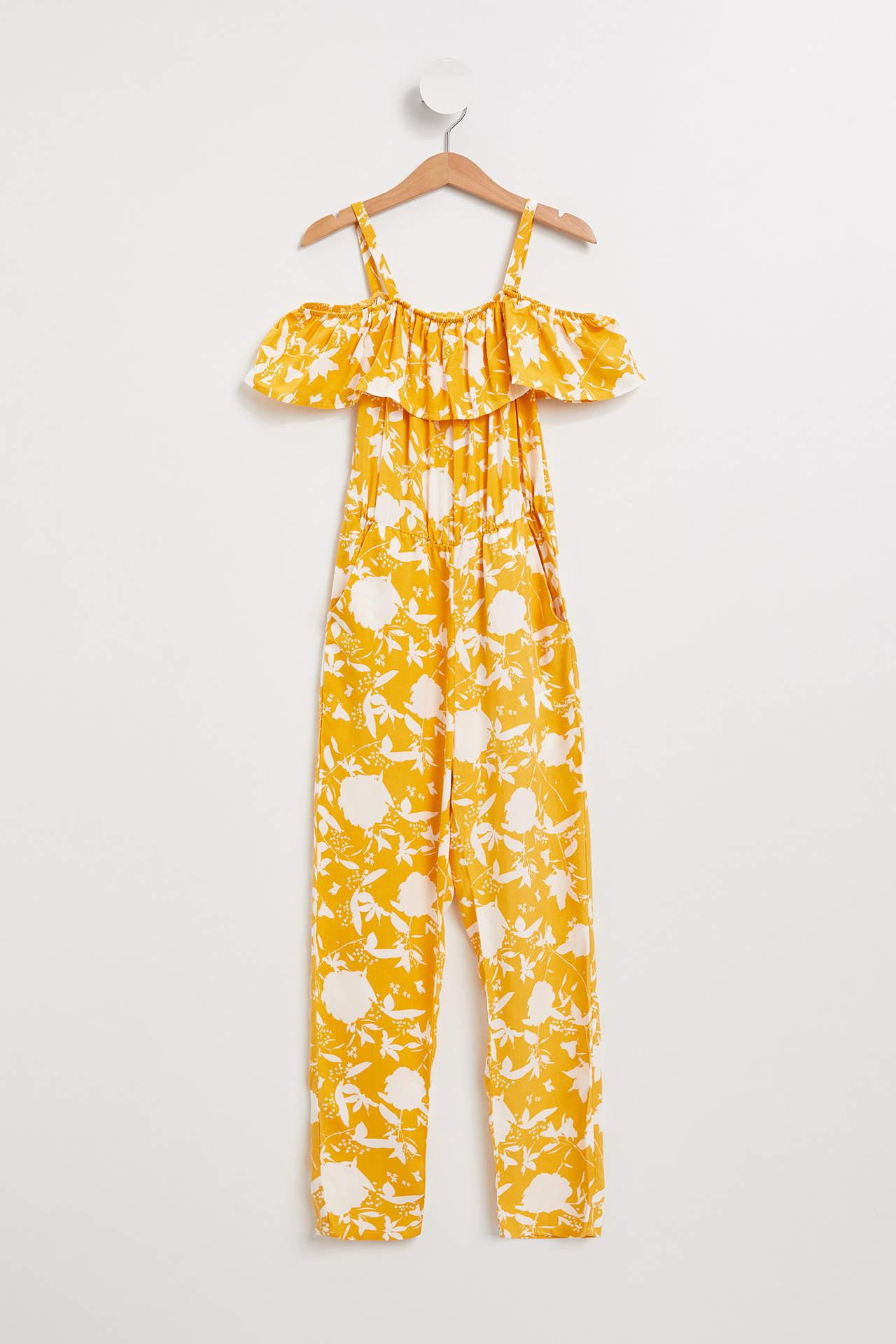 DeFacto Kız Çocuk Fırfırlı Desenli Tulum Sarı female