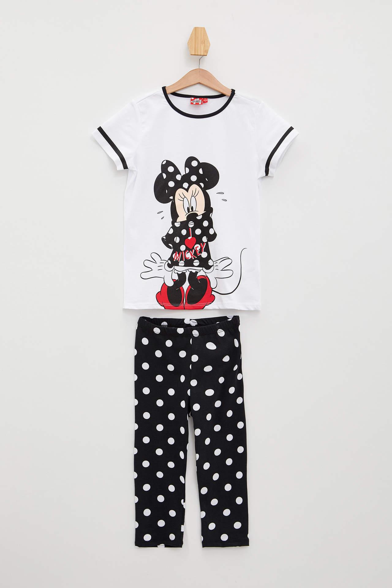 DeFacto Kız Çocuk Mickey Mouse Lisanslı Pijama Takımı Beyaz female