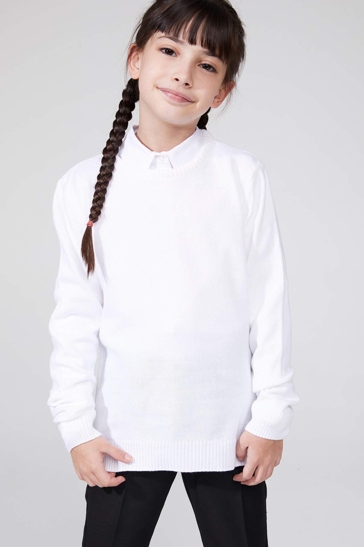 DeFacto Kız Çocuk Basic Triko Kazak Ekru female