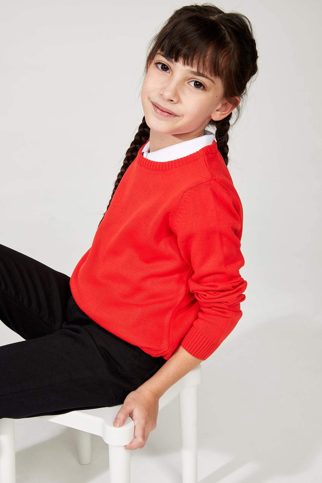 DeFacto Kız Çocuk Basic Triko Kazak Kırmızı female