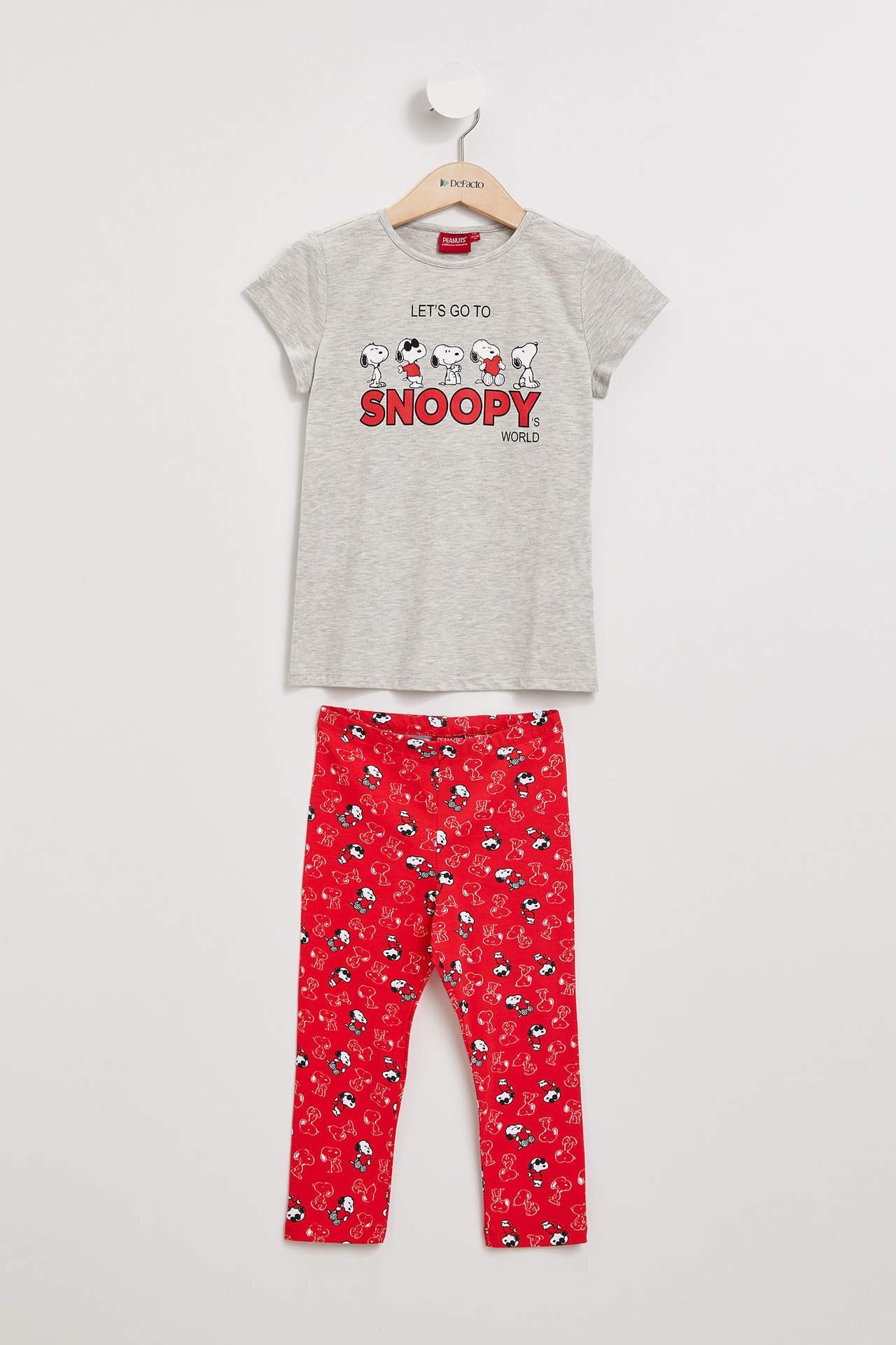 DeFacto Kız Çocuk Snoopy Lisanslı Pijama Takımı Gri female