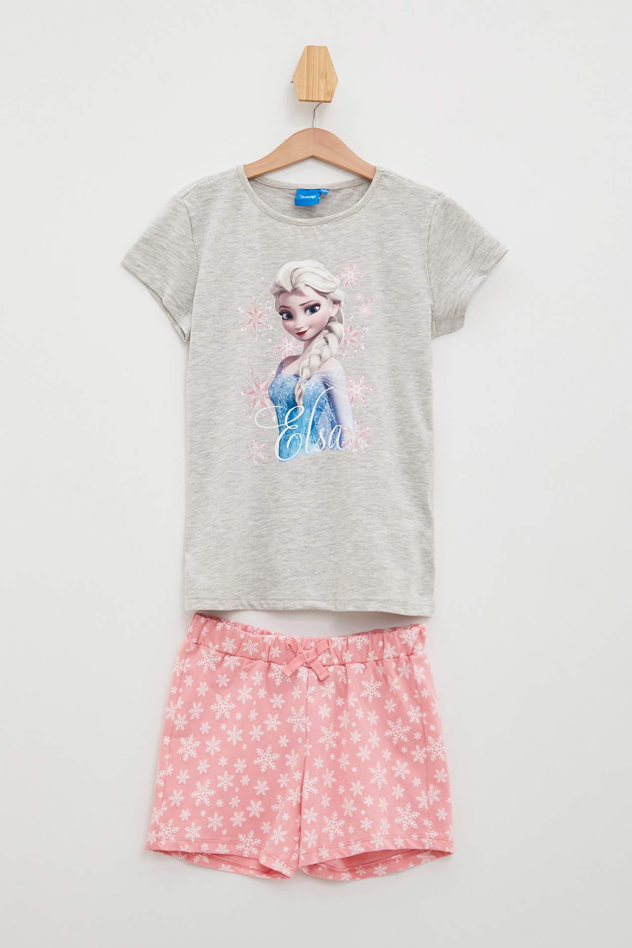 DeFacto Kız Çocuk Frozen Lisanslı Şortlu Pijama Takımı Gri female