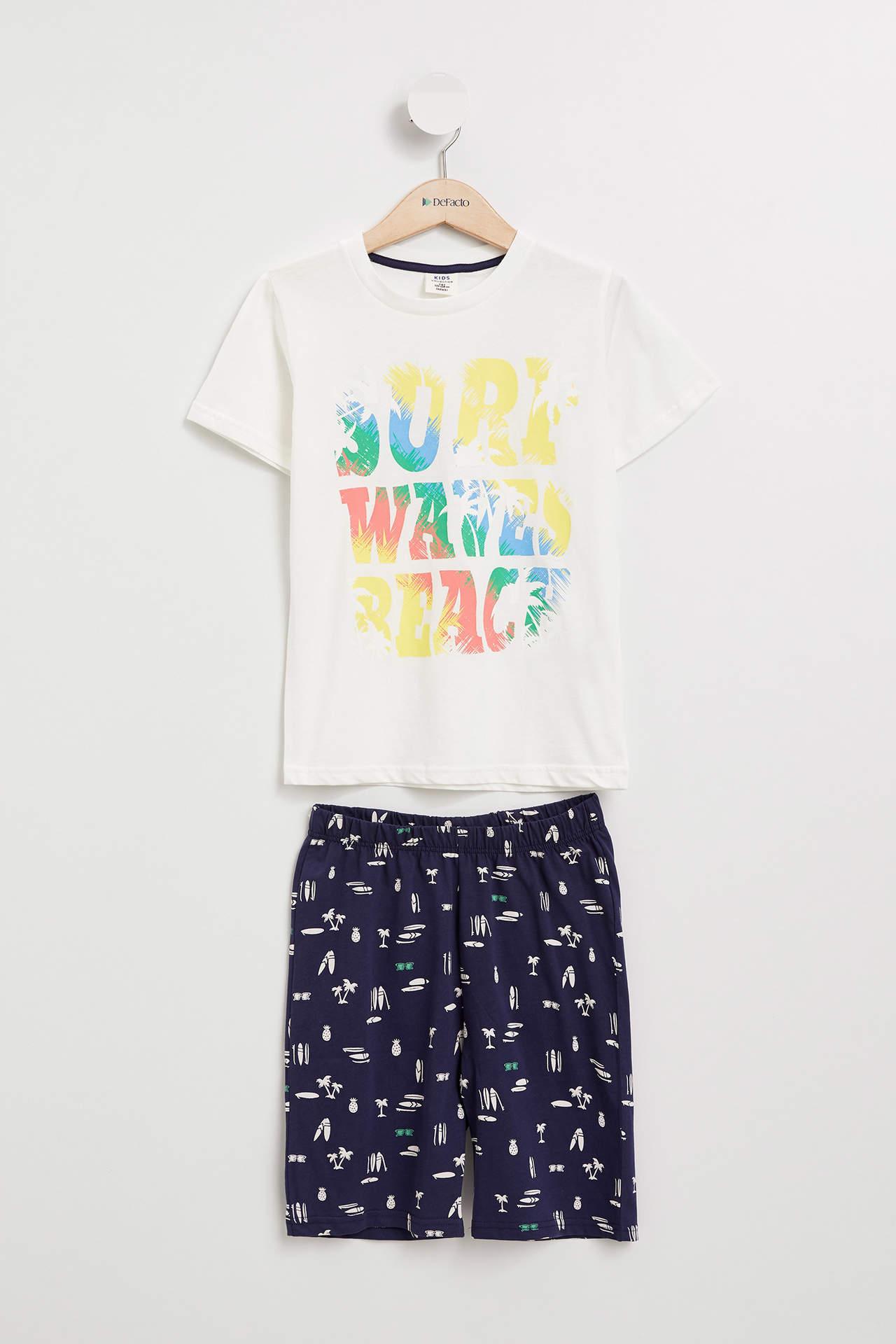 DeFacto Erkek Çocuk Pijama Takımı Beyaz male
