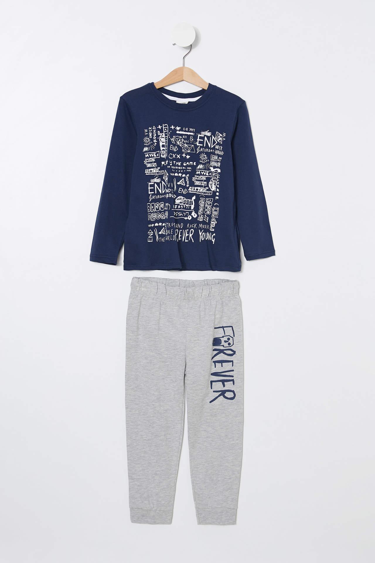 DeFacto Erkek Çocuk Baskılı Pijama Takımı Mavi male