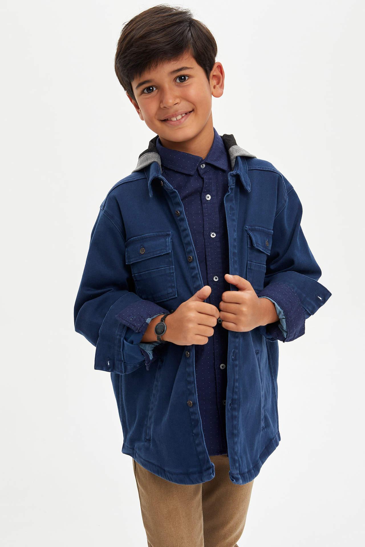 DeFacto Erkek Çocuk Çıkarılabilir Kapüşonlu Jean Gömlek Mavi male
