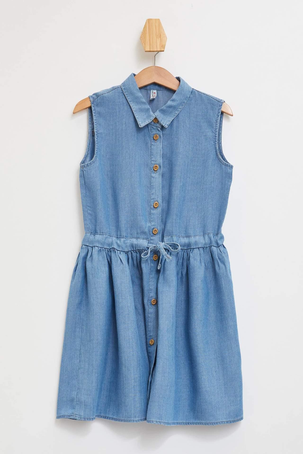 DeFacto Kız Çocuk Kolsuz Düğmeli Jean Elbise Mavi female