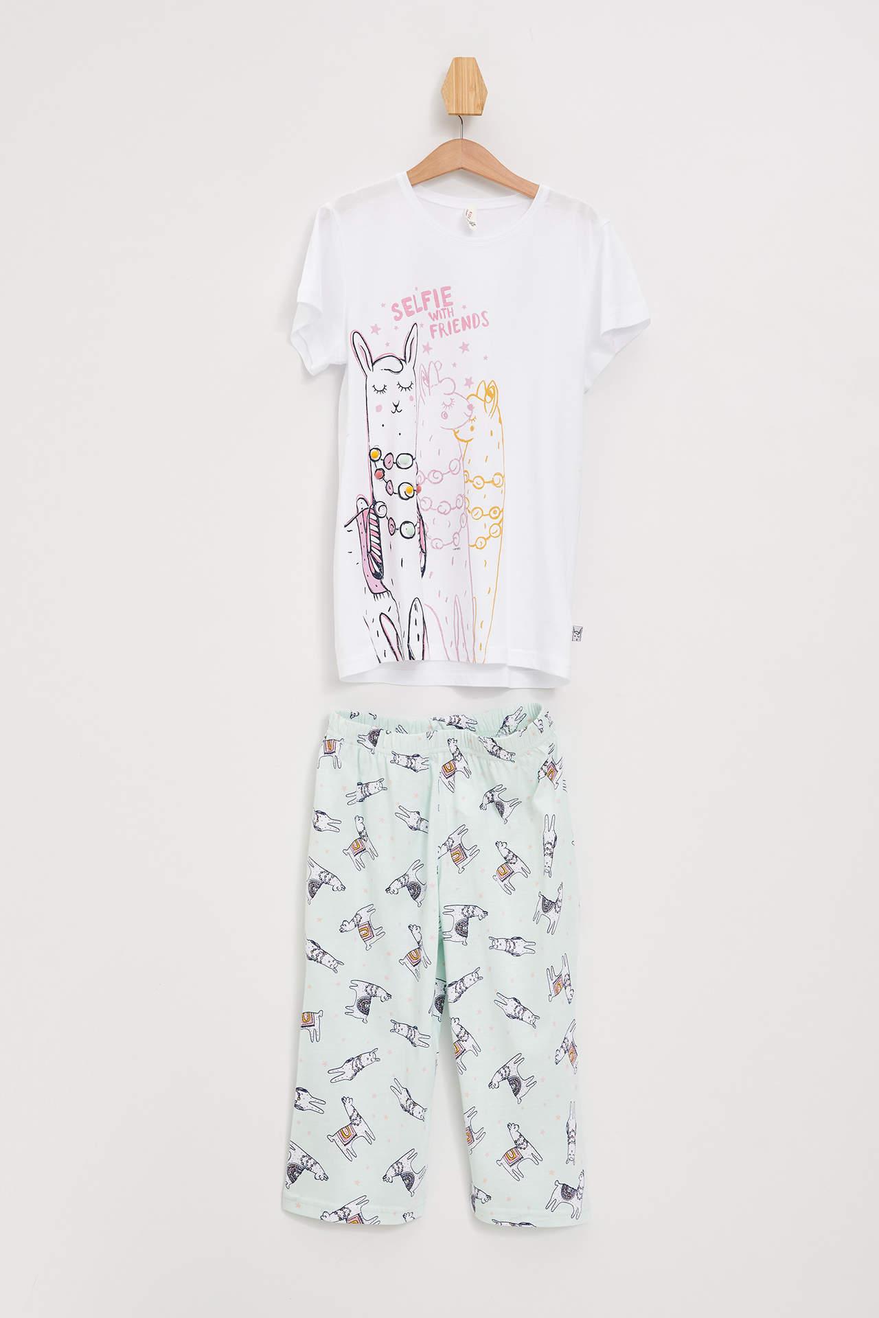 DeFacto Kız Çocuk Baskılı Örme Pijama Takımı Beyaz female