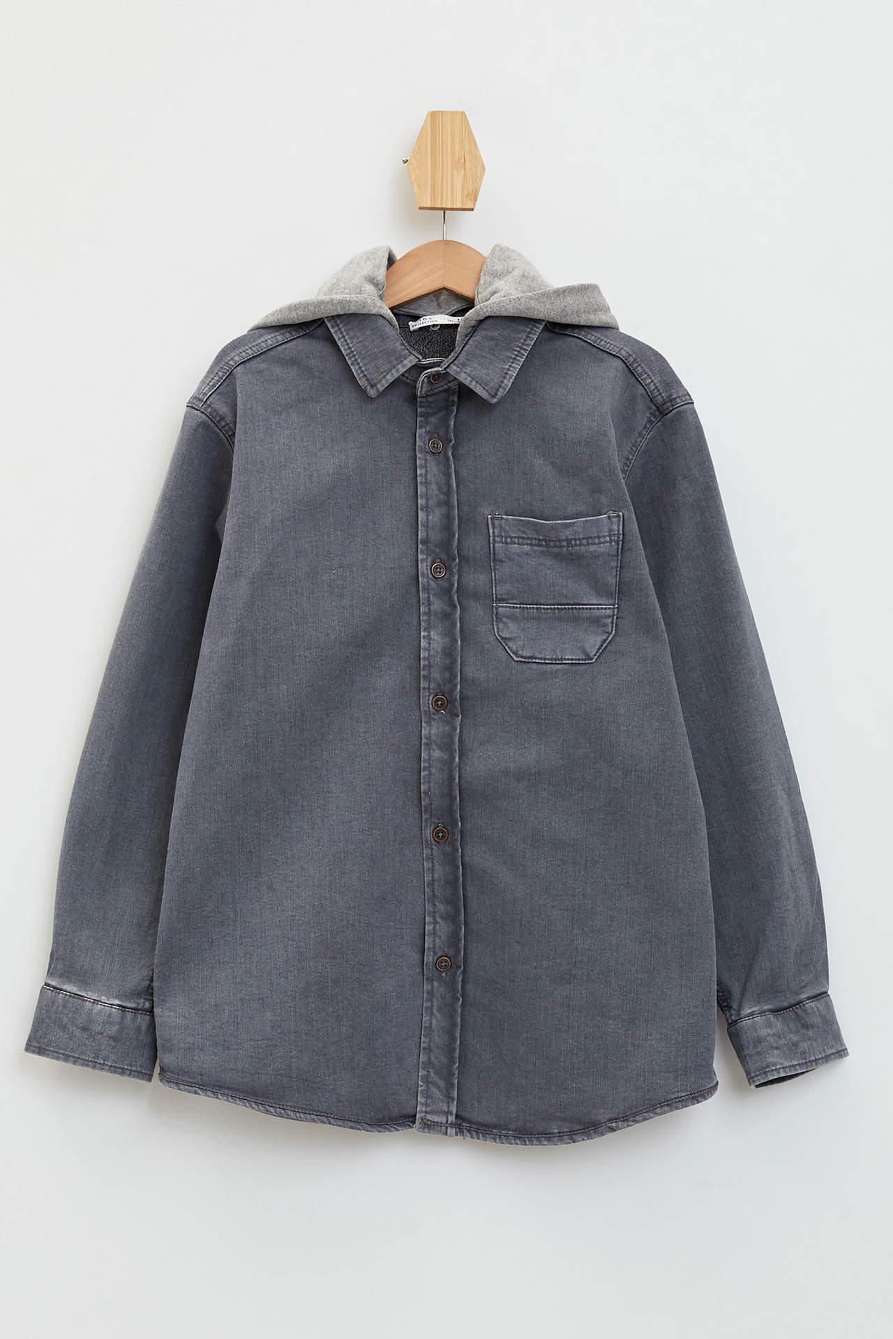 DeFacto Erkek Çocuk Çıkarılabilir Kapüşonlu Jean Gömlek Gri male