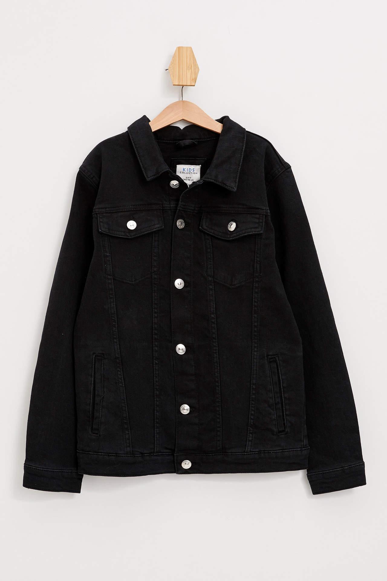 DeFacto Erkek Çocuk Jean Ceket Siyah male