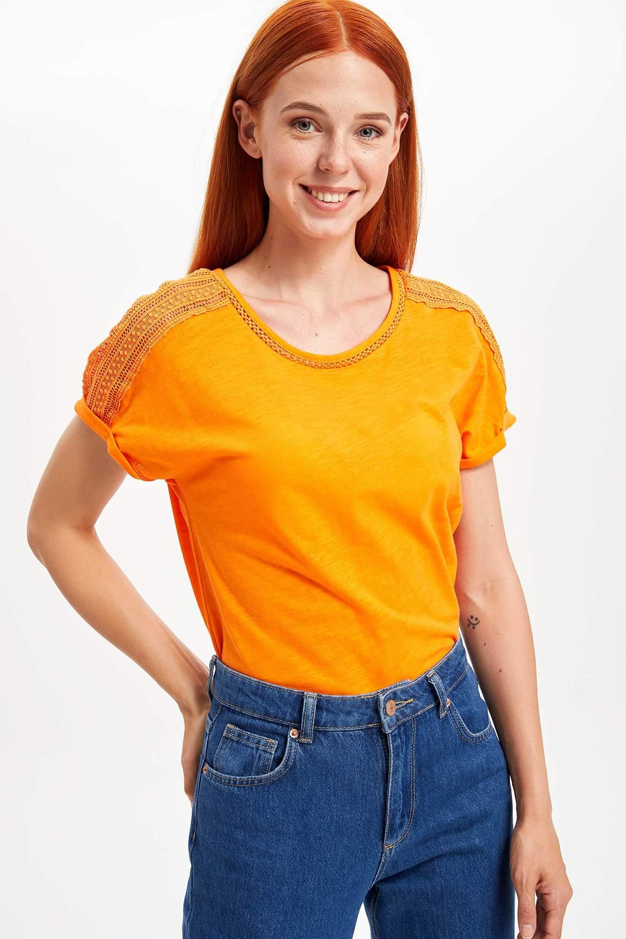 DeFacto Kadın Kolsuz T-shirt Turuncu female