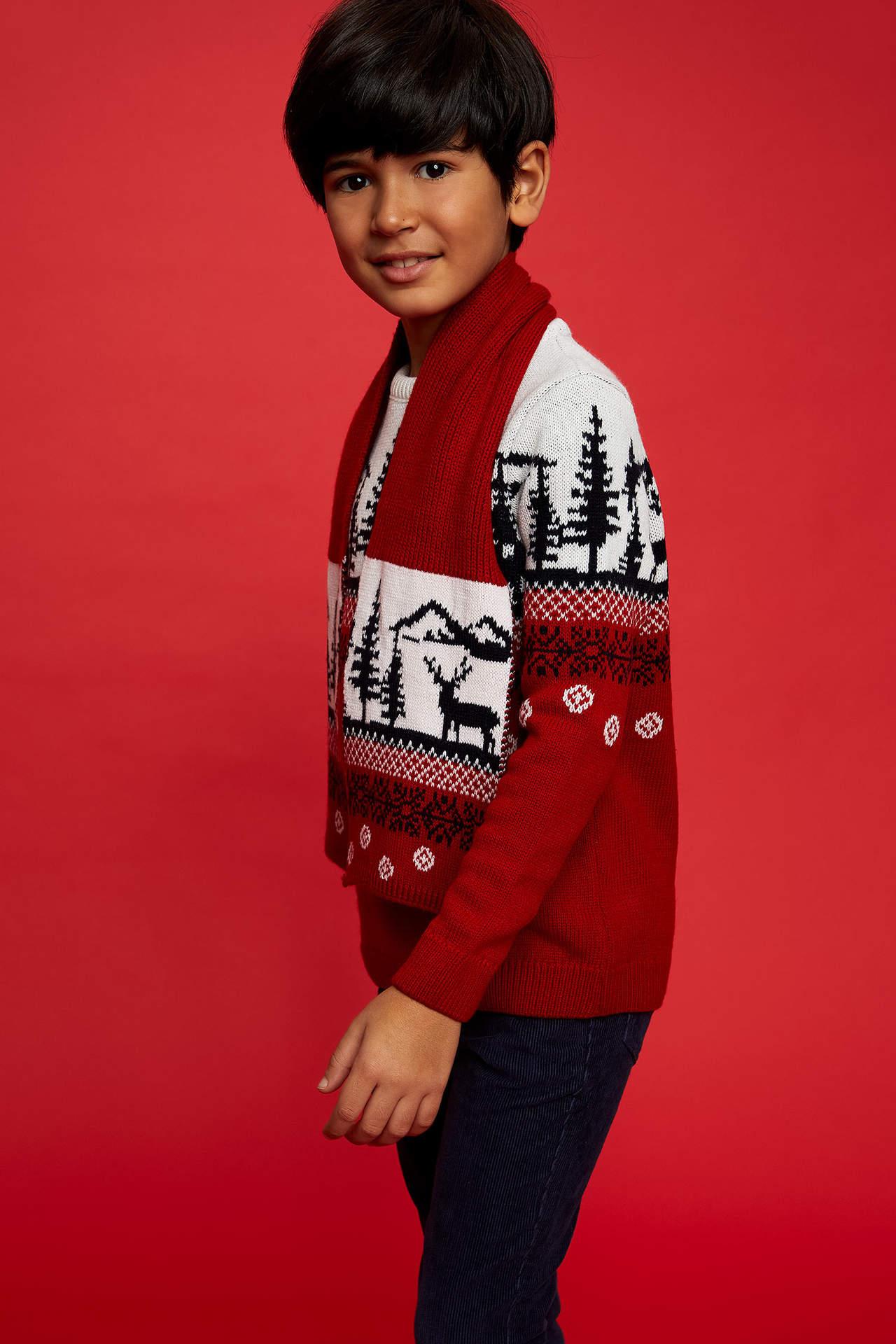 Kids Baby Reindeer Print Knitted Jumper Children Christmas Winter Sweater Top