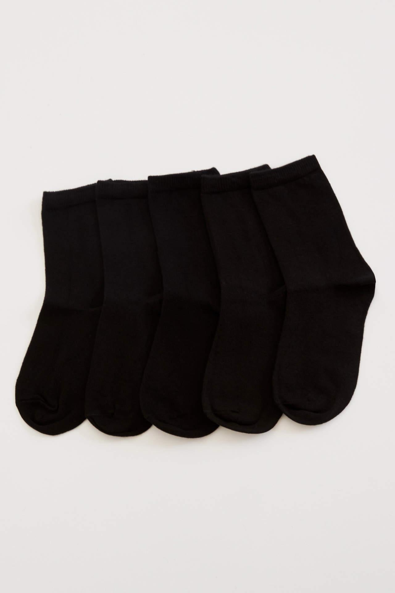 DeFacto Erkek Çocuk 5'li Uzun Çorap Siyah male