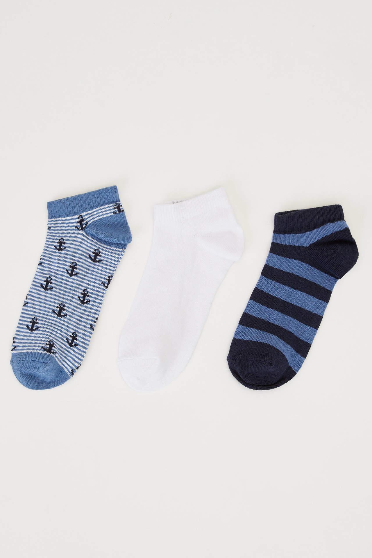 DeFacto Erkek Çocuk 3'lü Kısa Çorap Seti Lacivert male