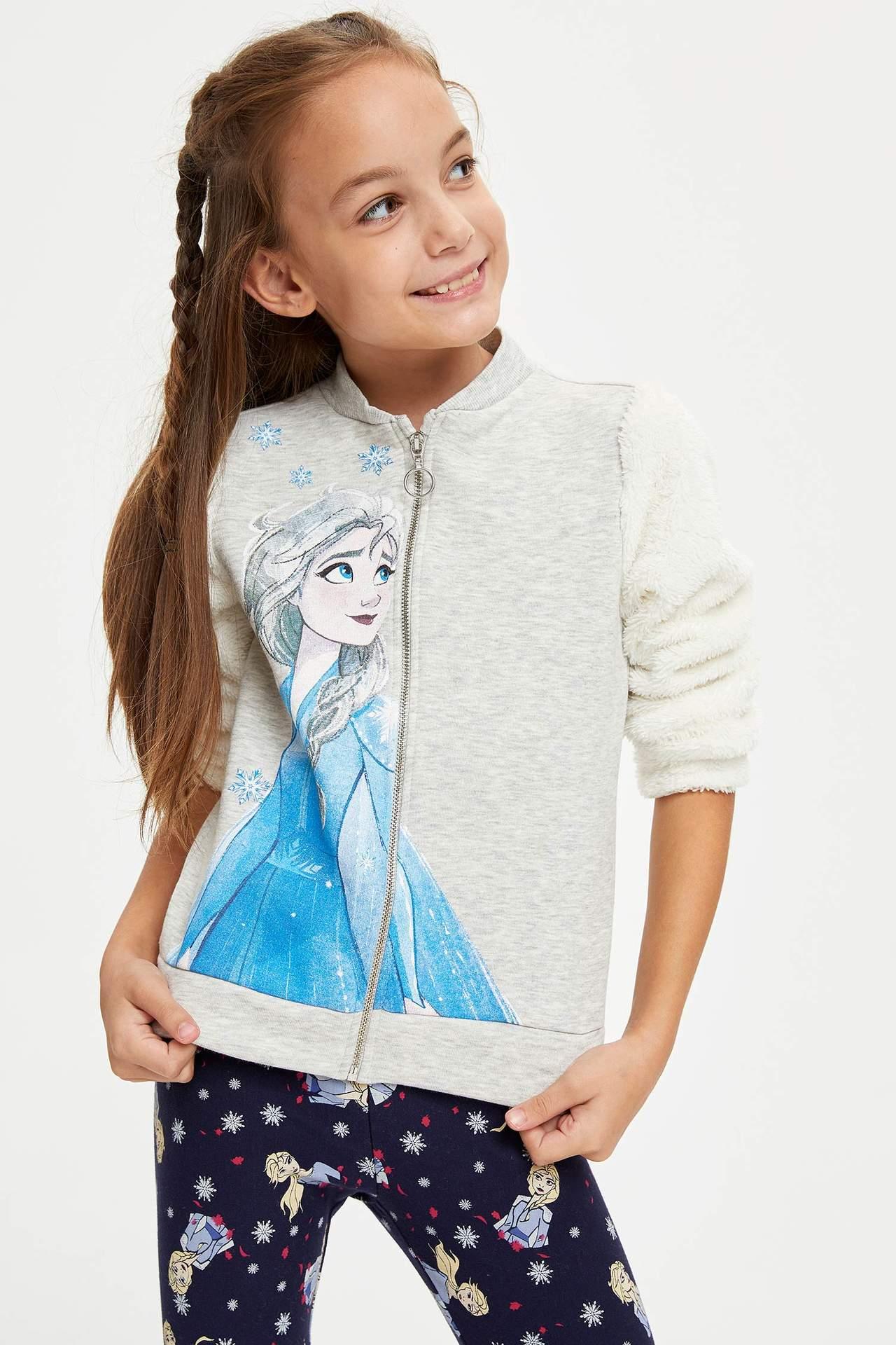 DeFacto Kız Çocuk Frozen Lisanslı Fermuarlı Hırka Gri female