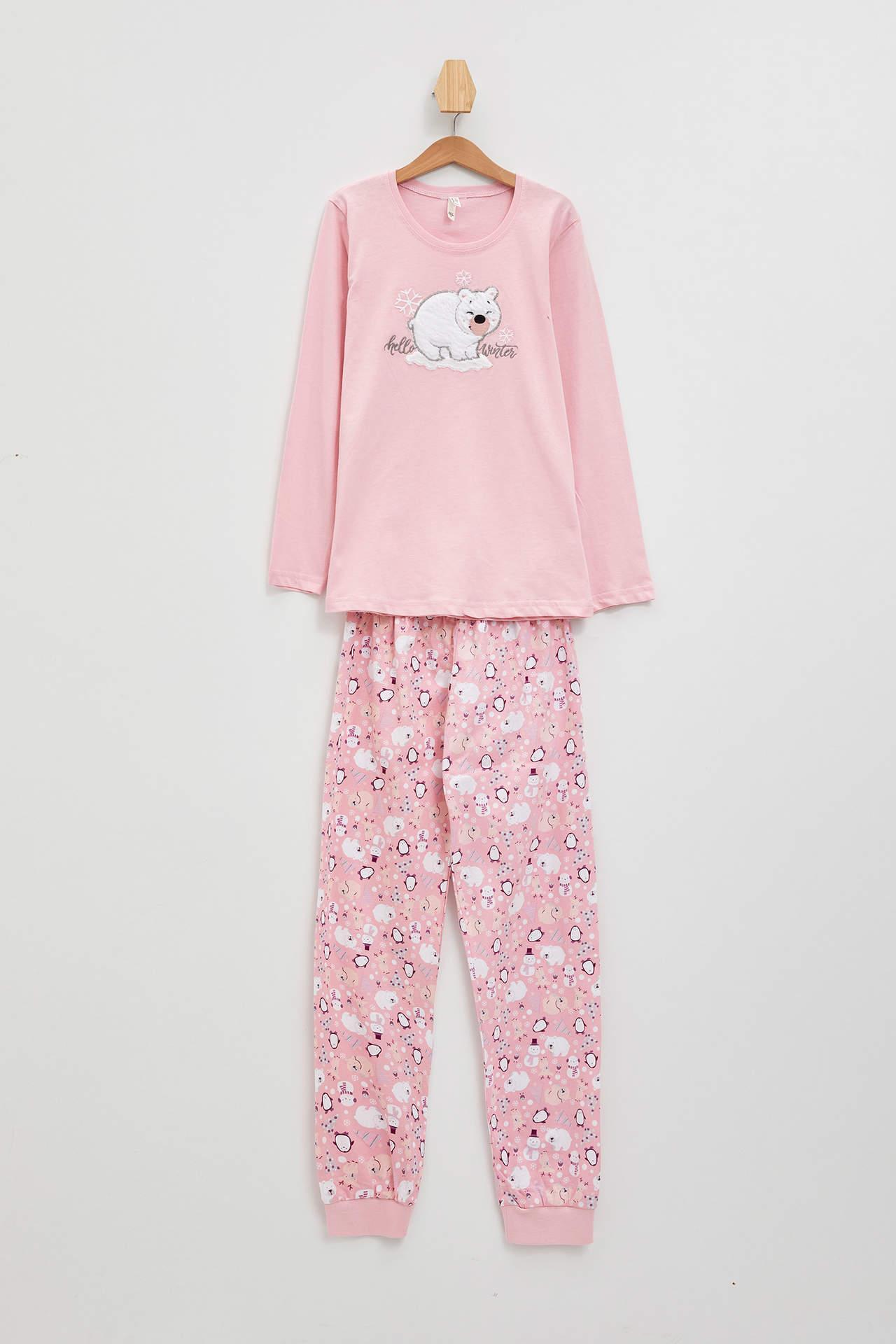 DeFacto Kız Çocuk Baskılı Örme Pijama Takımı Pembe female
