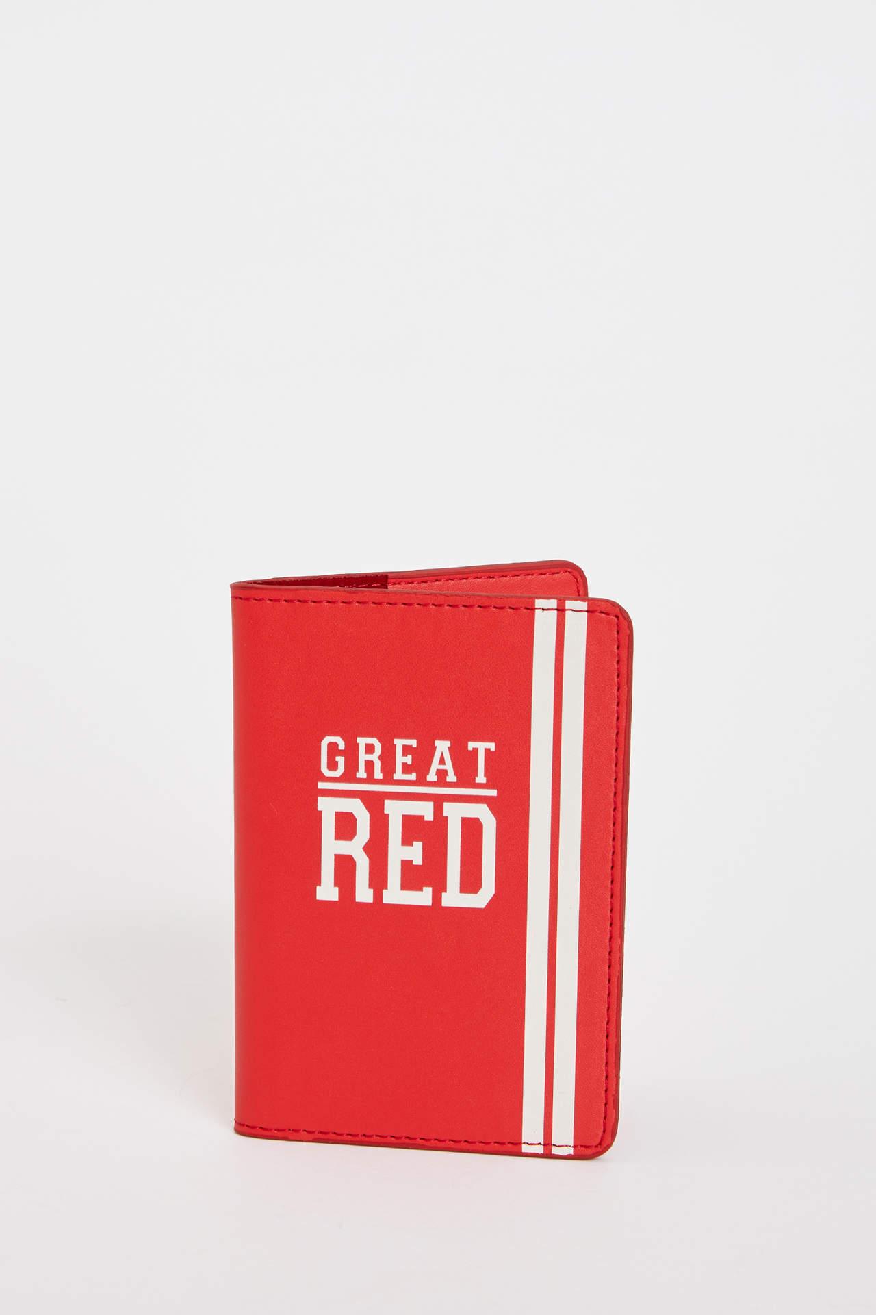 DeFacto Kız Çocuk Baskılı Pasaport Kılıfı Kırmızı female
