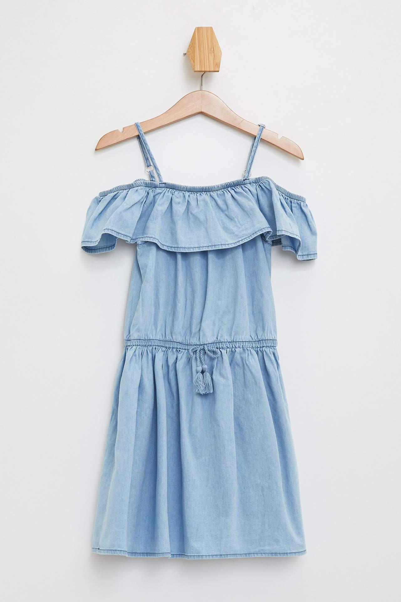 DeFacto Kız Çocuk Omuz Detaylı Jean Elbise Mavi female