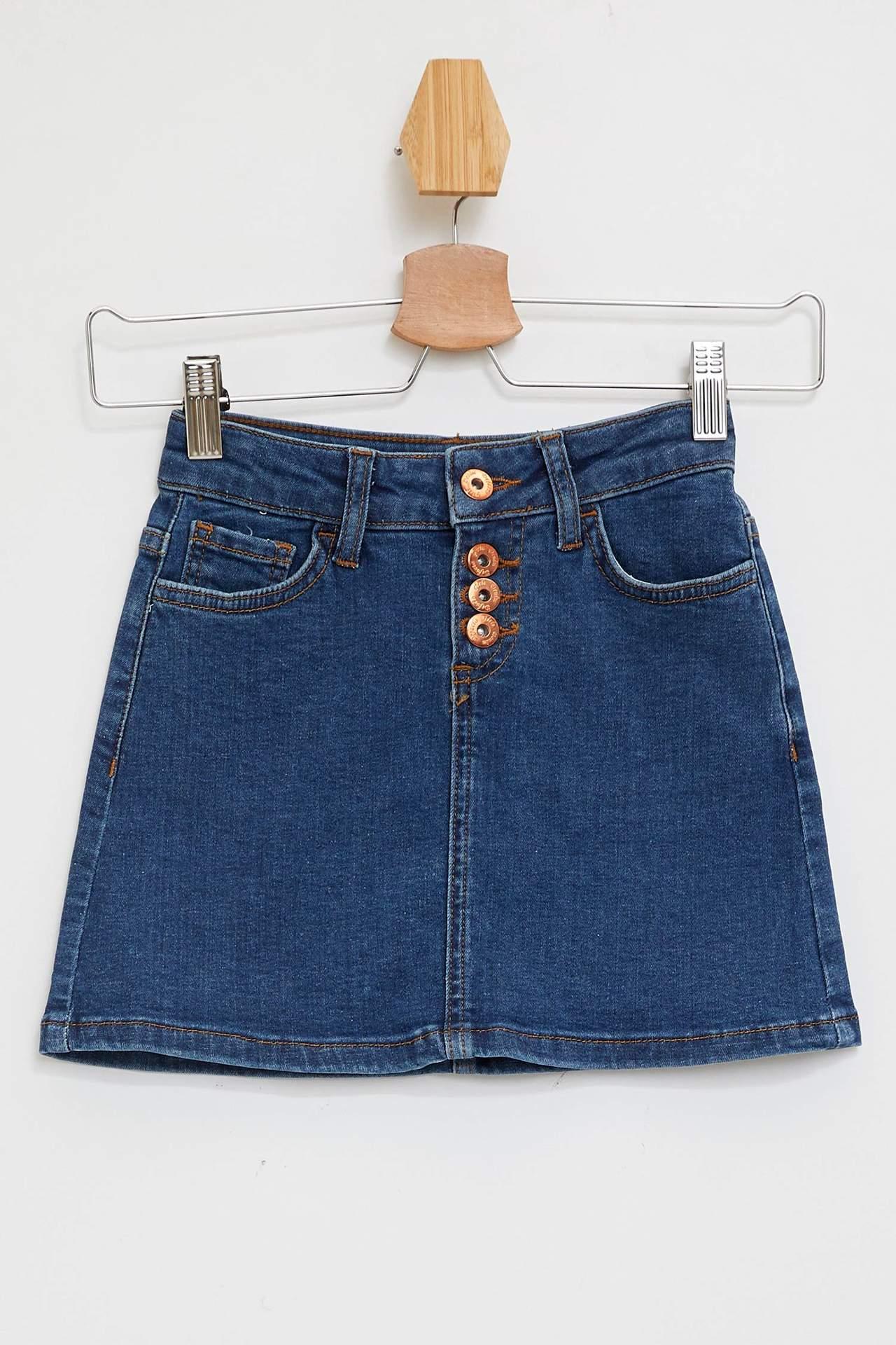 DeFacto Kız Çocuk Düğmeli Jean Etek Mavi female