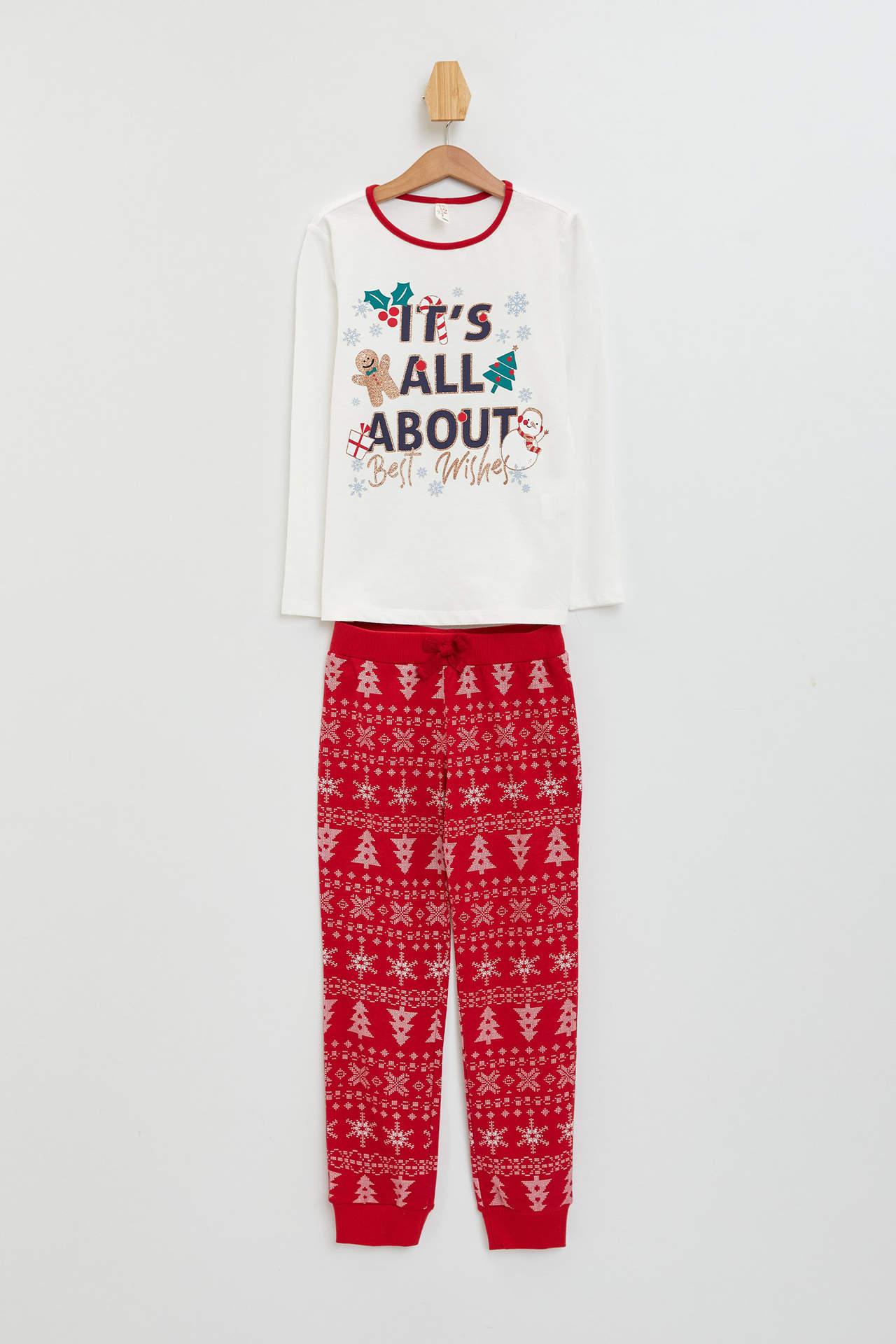 DeFacto Kız Çocuk Yeni Yıl Temalı Pijama Takımı Ekru female