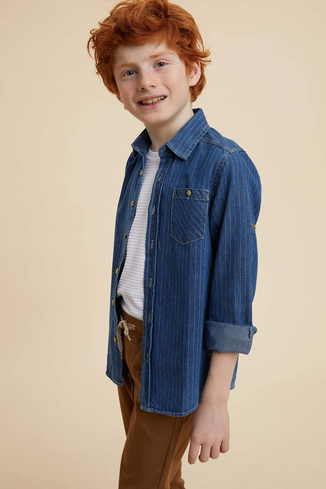DeFacto Erkek Çocuk Tek Cep Çizgili Kolu Katlamalı Jean Gömlek Mavi male