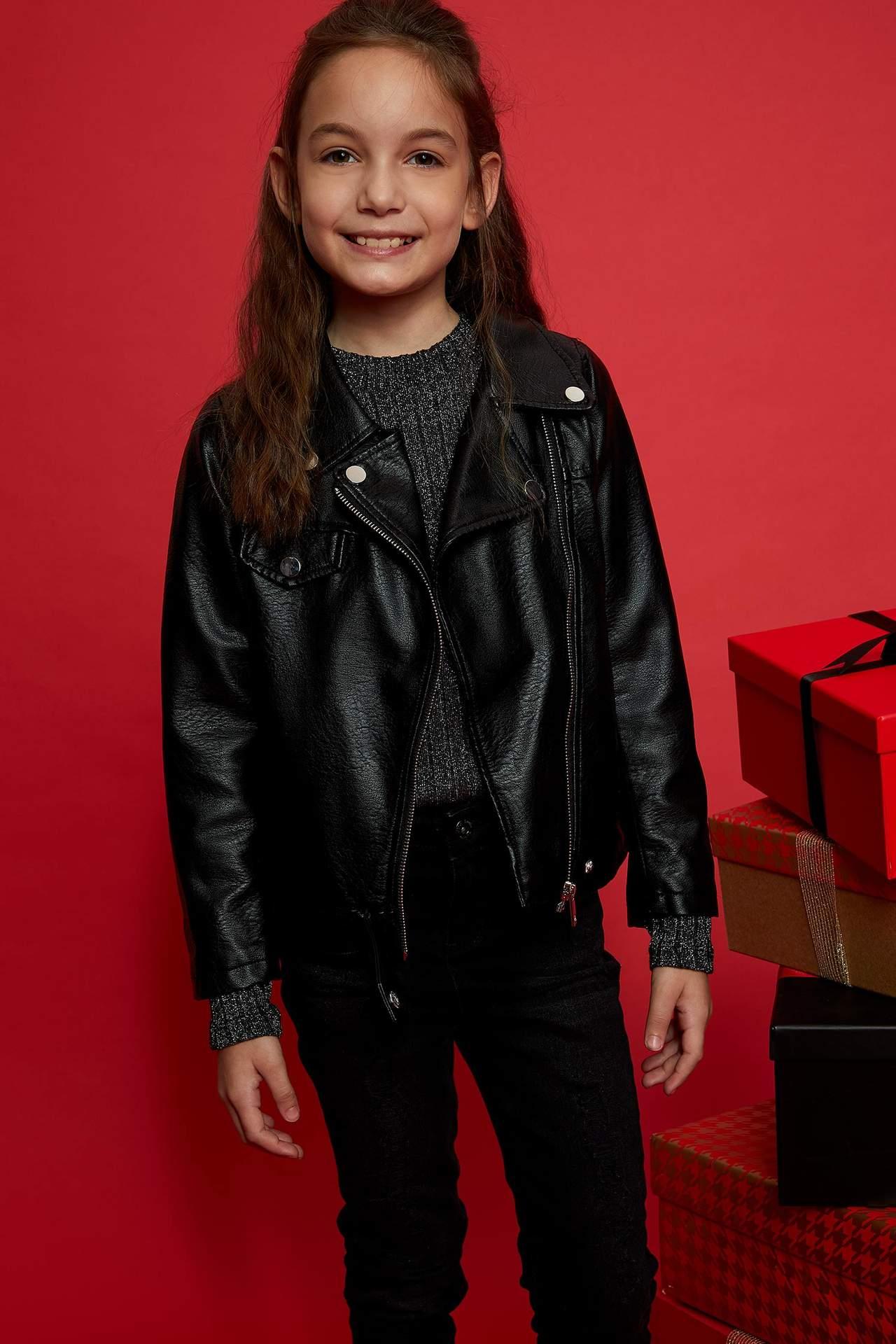DeFacto Kız Çocuk Deri Ceket Siyah female
