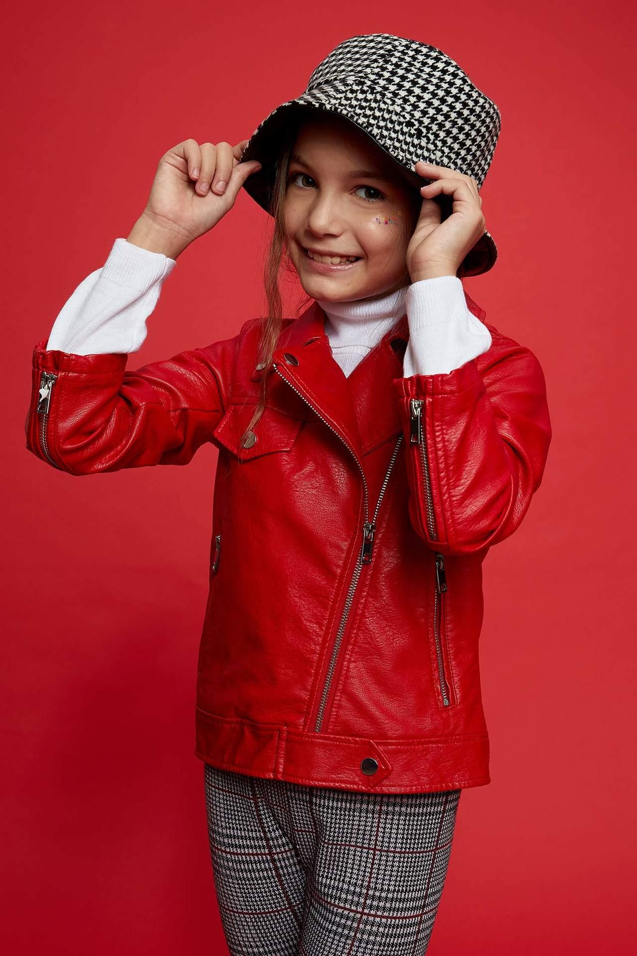 DeFacto Kız Çocuk Deri Ceket Kırmızı female