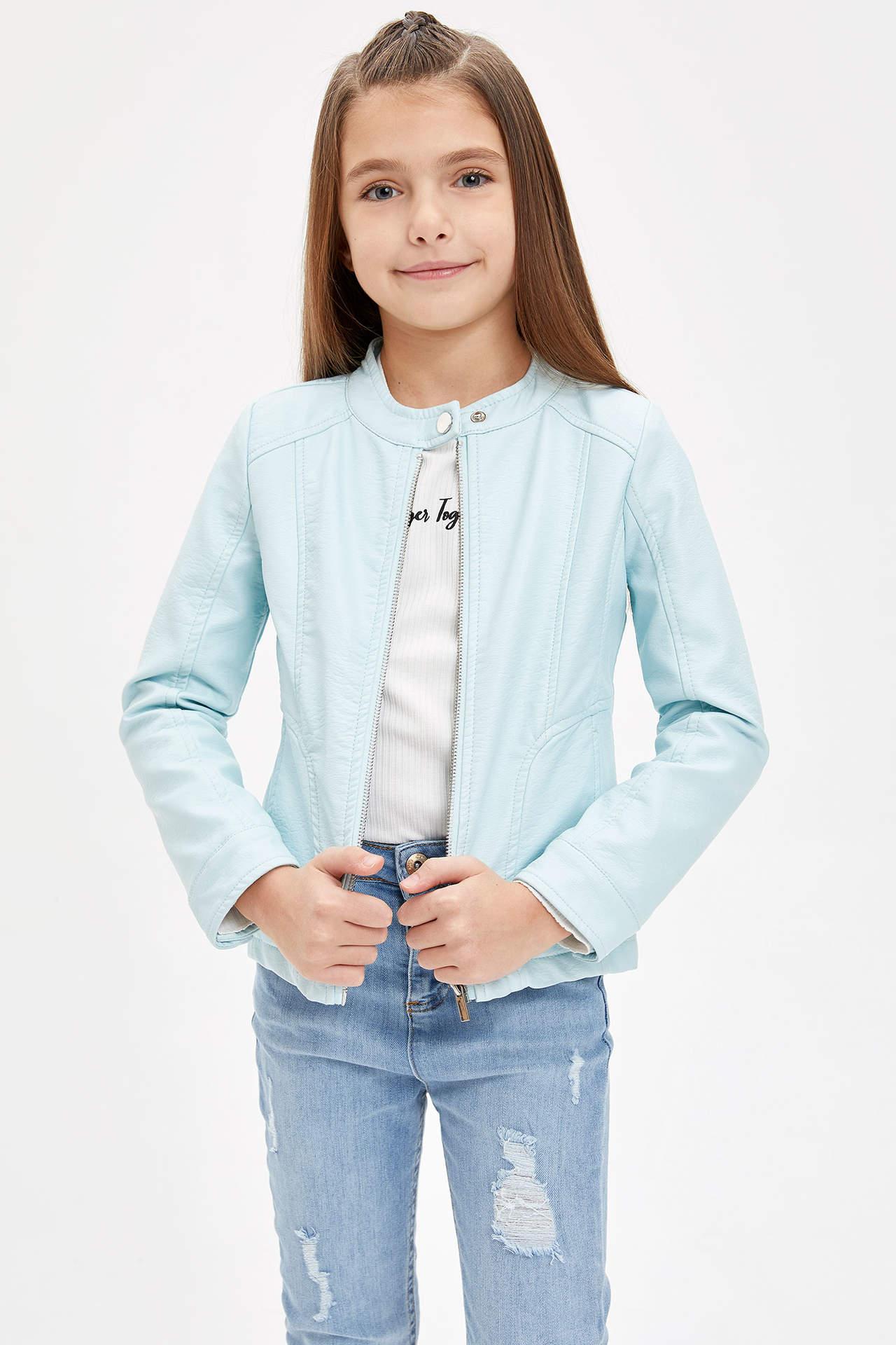 DeFacto Kız Çocuk Fermuarlı Suni Deri Ceket Mavi female
