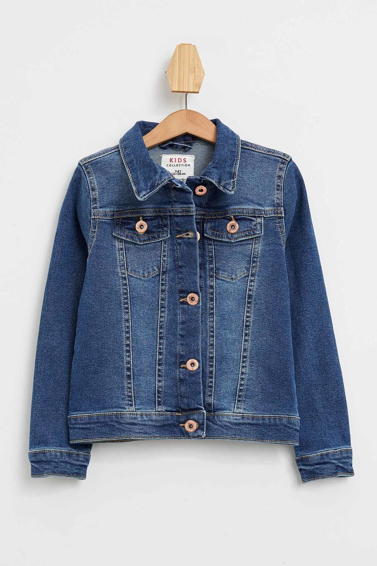 DeFacto Kız Çocuk Regular Fit Jean Ceket Mavi female