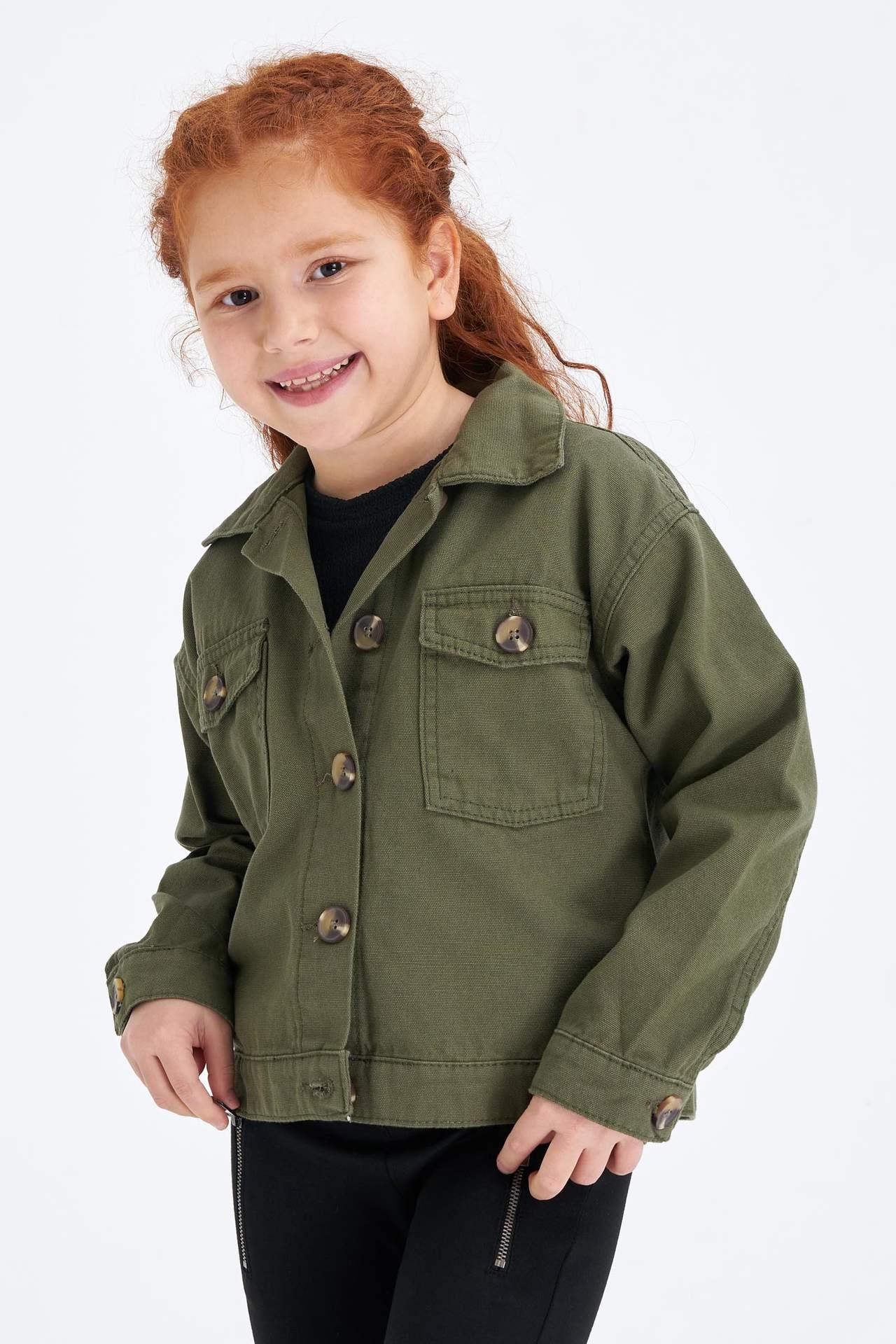 DeFacto Kız Çocuk Regular Fit Düğmeli Jean Ceket Haki female