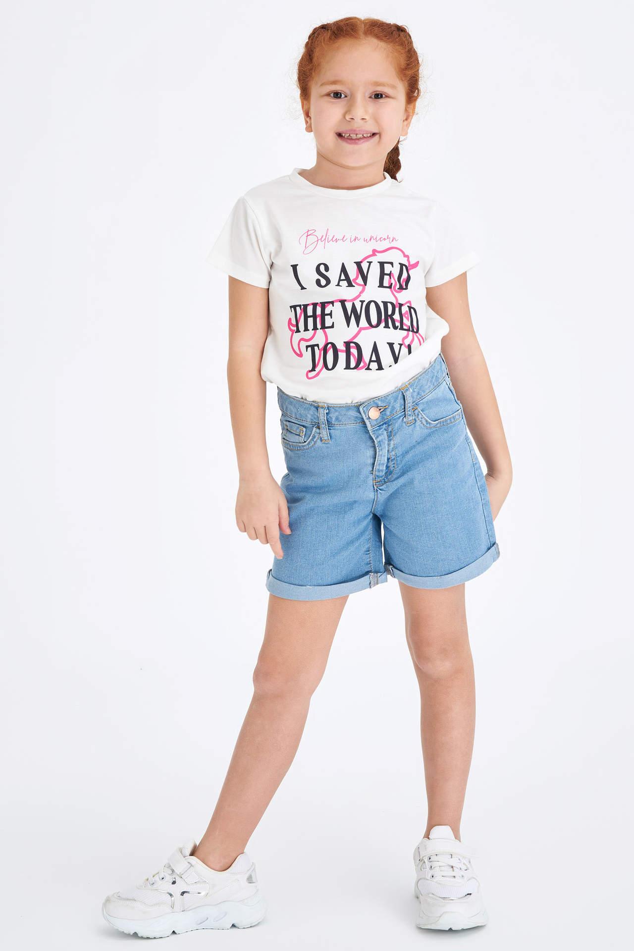 DeFacto Kız Çocuk Basic Jean Şort Mavi female