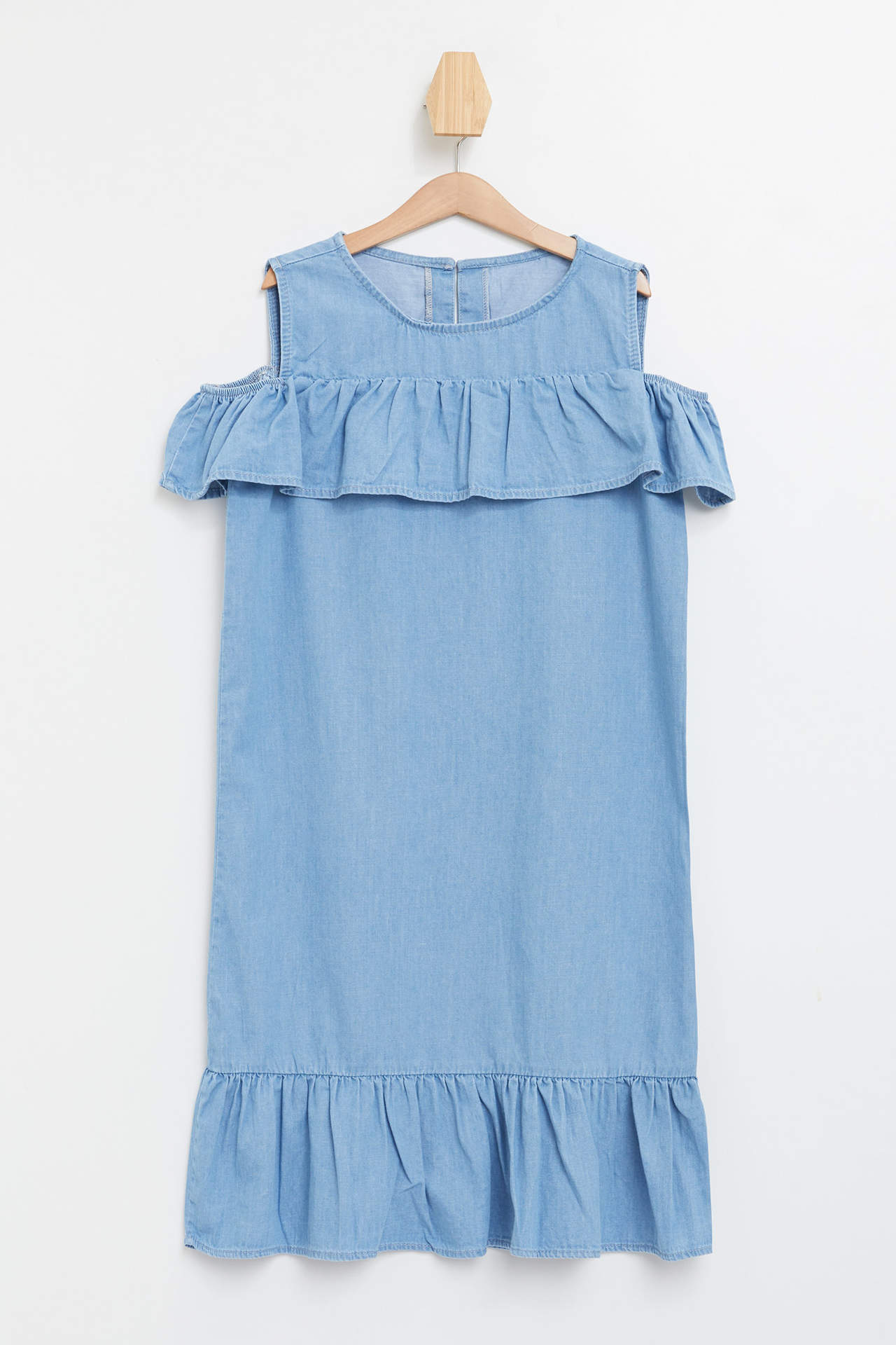 DeFacto Kız Çocuk Fırfır Detaylı Kolsuz Jean Elbise Mavi female