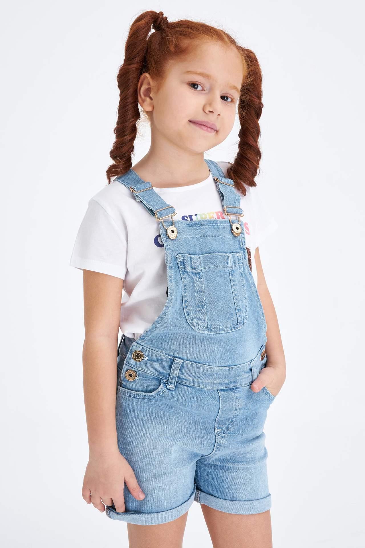 DeFacto Kız Çocuk Regular Fit Jean Tulum Mavi female
