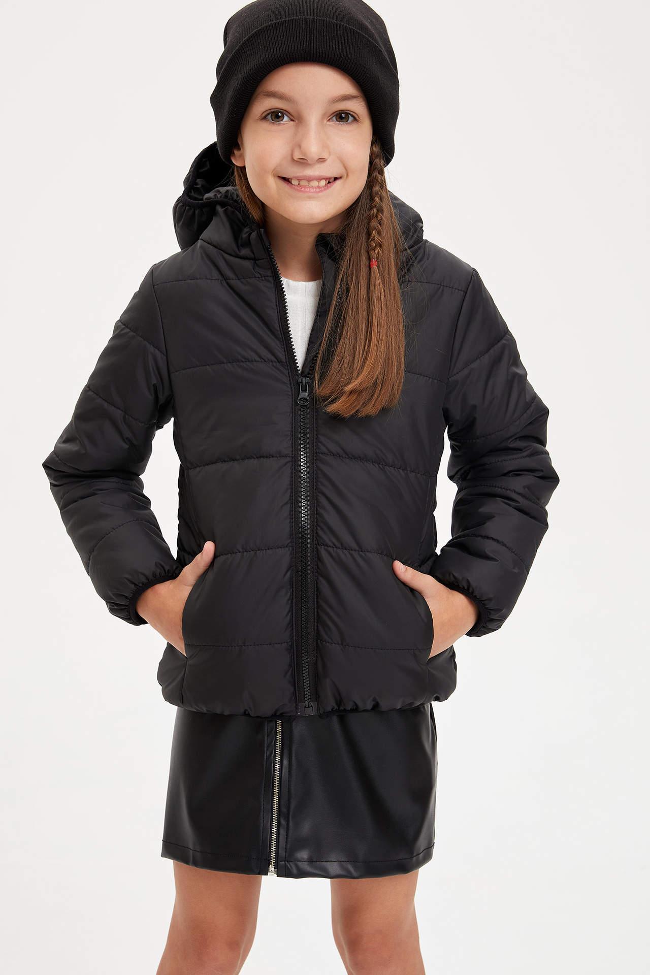 DeFacto Kız Çocuk Kapüşonlu Fermuarlı Mont Siyah female