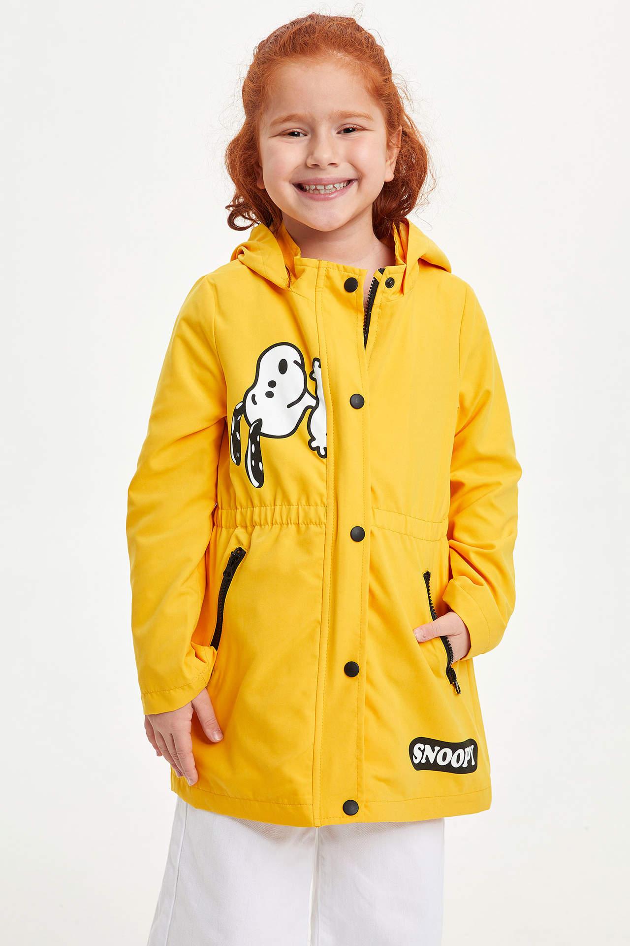 DeFacto Kız Çocuk Snoopy Lisanslı Kapüşonlu Mont Sarı female