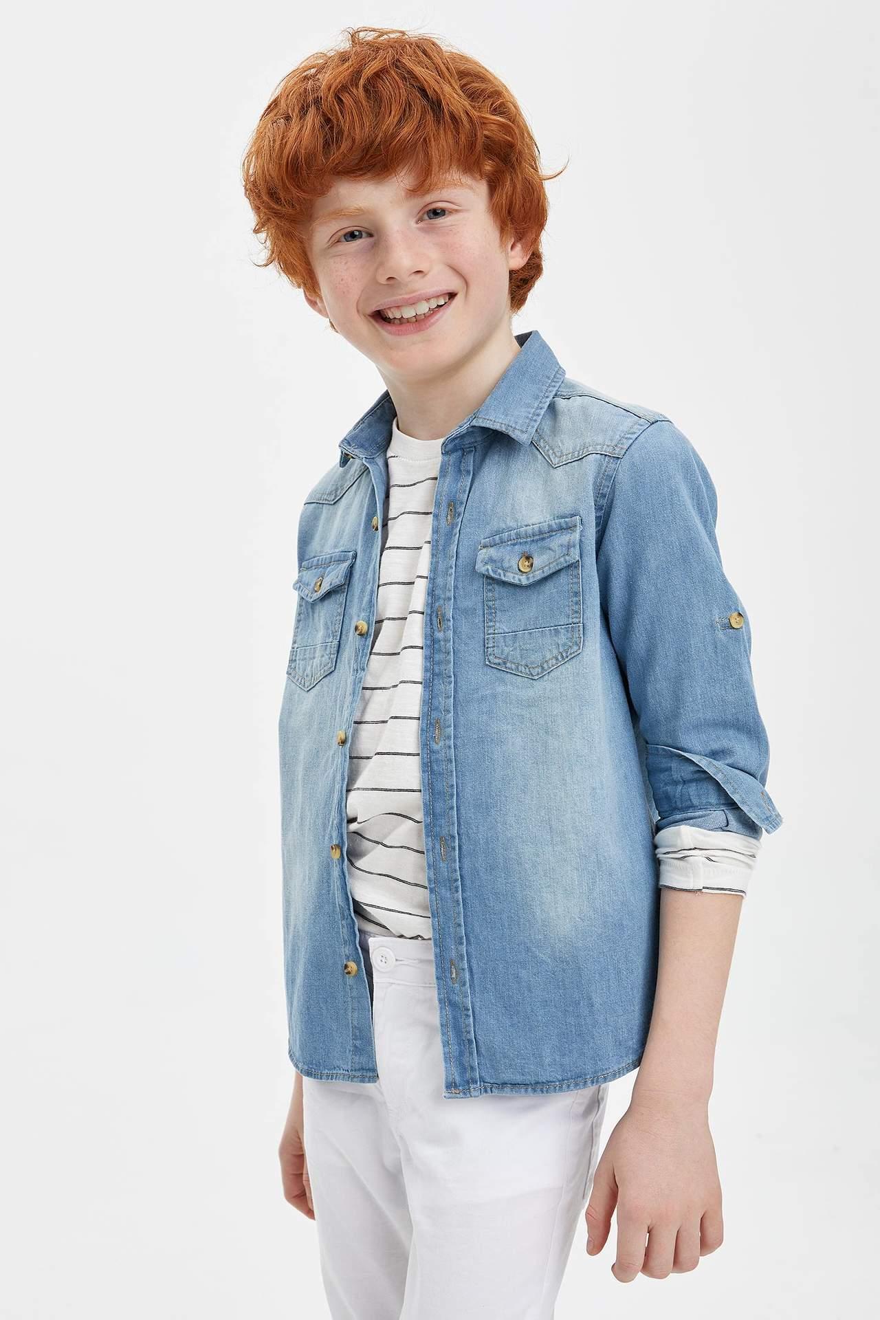 DeFacto Erkek Çocuk Kolu Katlamalı Jean Gömlek Mavi male
